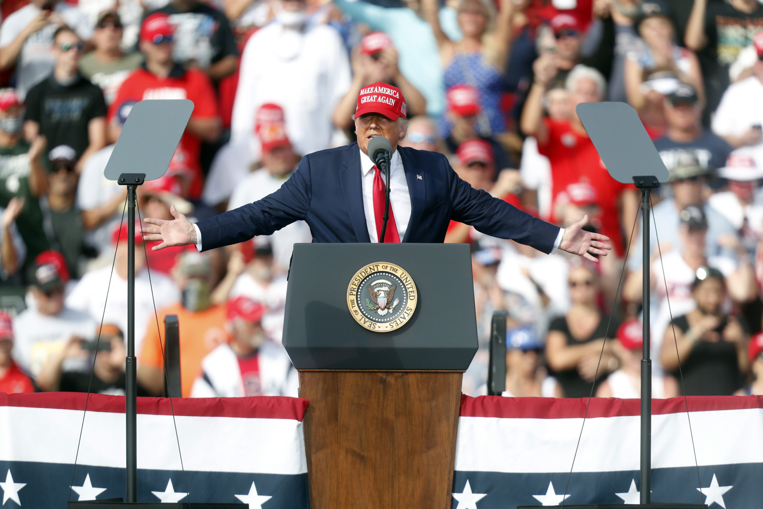 President Donald Trump gives a campaign speech on Oct. 29 in Tampa, Florida. (Octavio Jones/Getty Images)