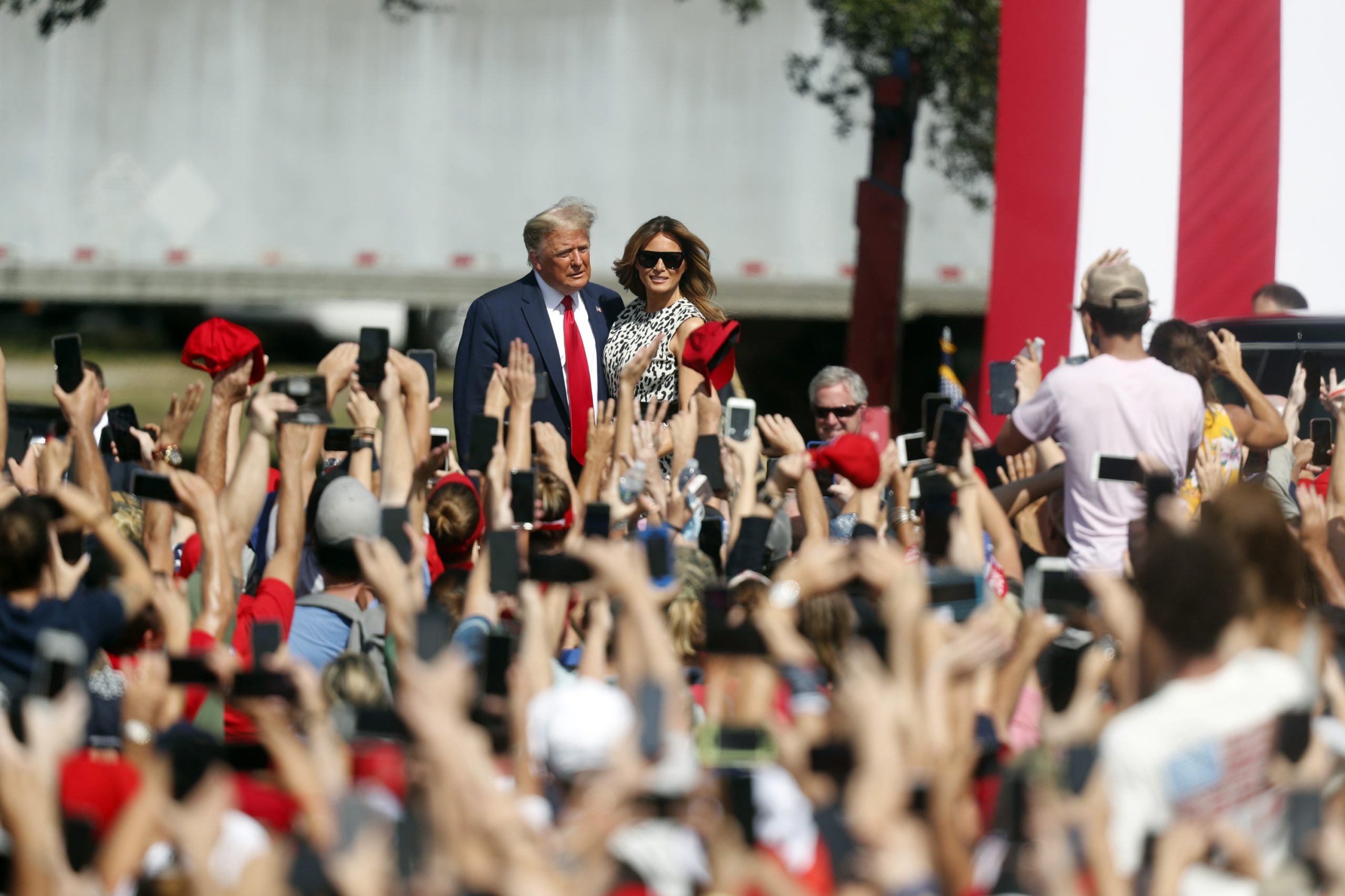 President Donald Trump arrives with his wife First Lady Melania Trump to give a campaign speech on Oct. 29 in Tampa, Florida. (Octavio Jones/Getty Images)