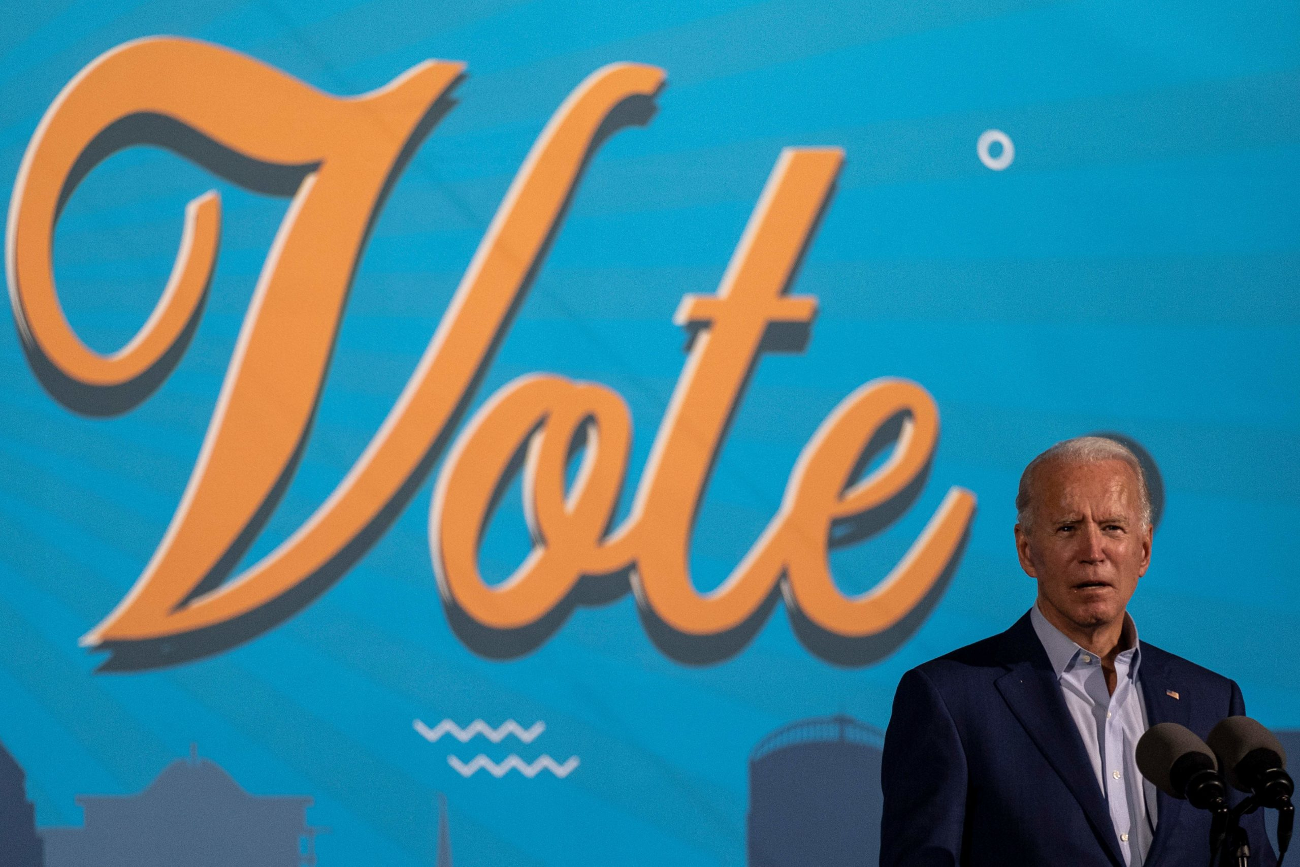 Democratic presidential nominee Joe Biden delivers remarks during an event in Tampa, Florida, on Oct. 29. (Ricardo Arduengo/AFP via Getty Images)