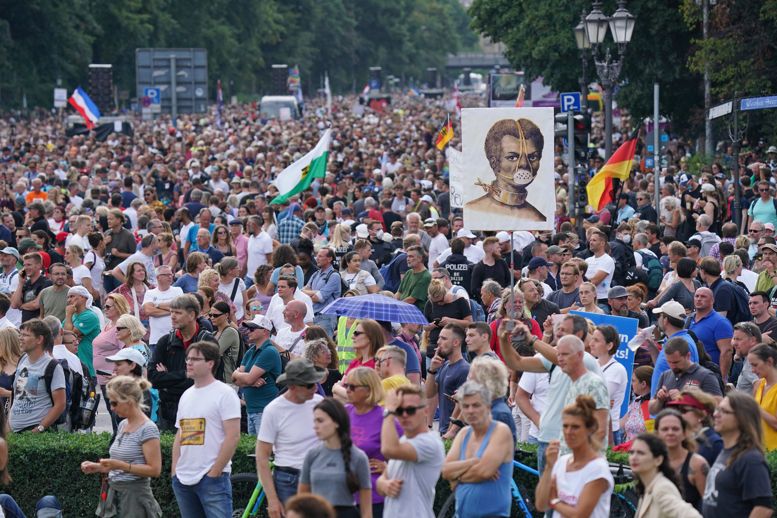 German citizens gathered during a protest against coronavirus-related restrictions and government policy on Aug. 29 in Berlin, Germany. (Sean Gallup/Getty Images)