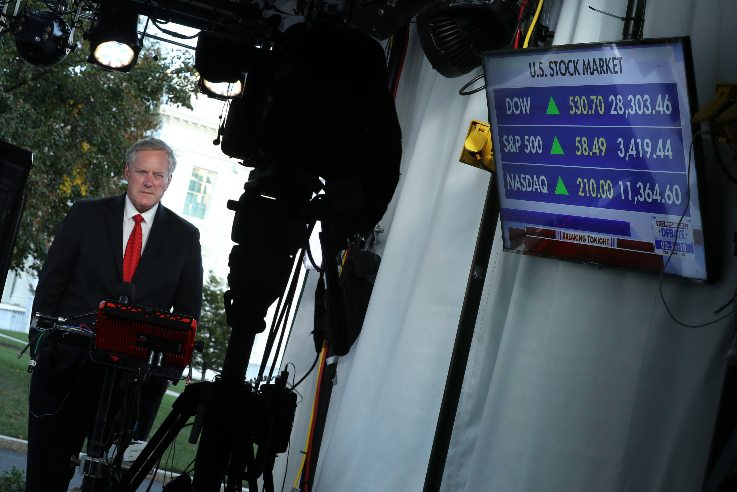 White House Chief of Staff Mark Meadows is interviewed by Fox News outside the White House October 07, 2020 in Washington, D.C. (Chip Somodevilla/Getty Images)