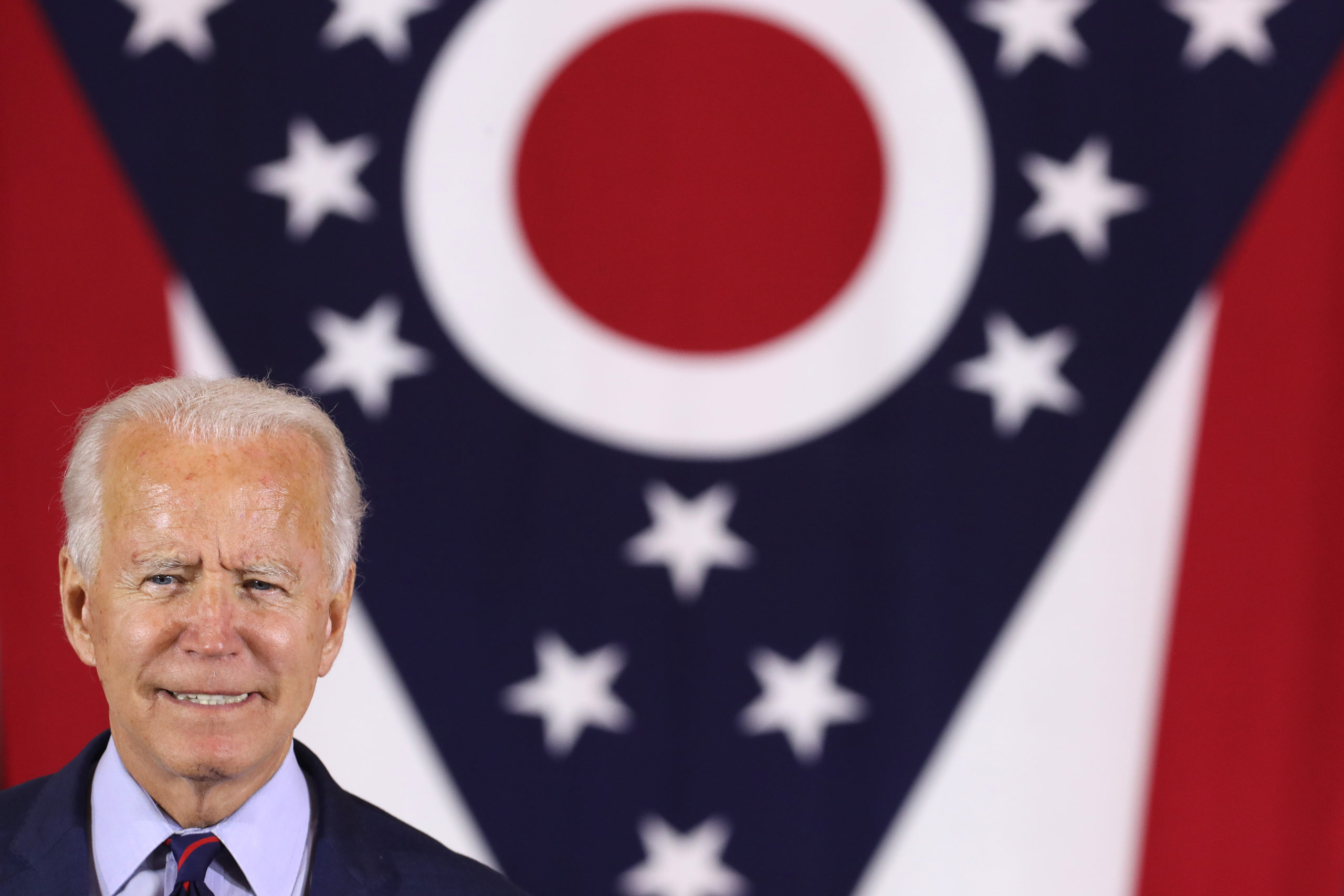 Democratic presidential nominee Joe Biden makes remarks during a voter-mobilization event at the Cincinnati Museum Center at Union Terminal October 12, 2020 in Cincinnati, Ohio. (Chip Somodevilla/Getty Images)