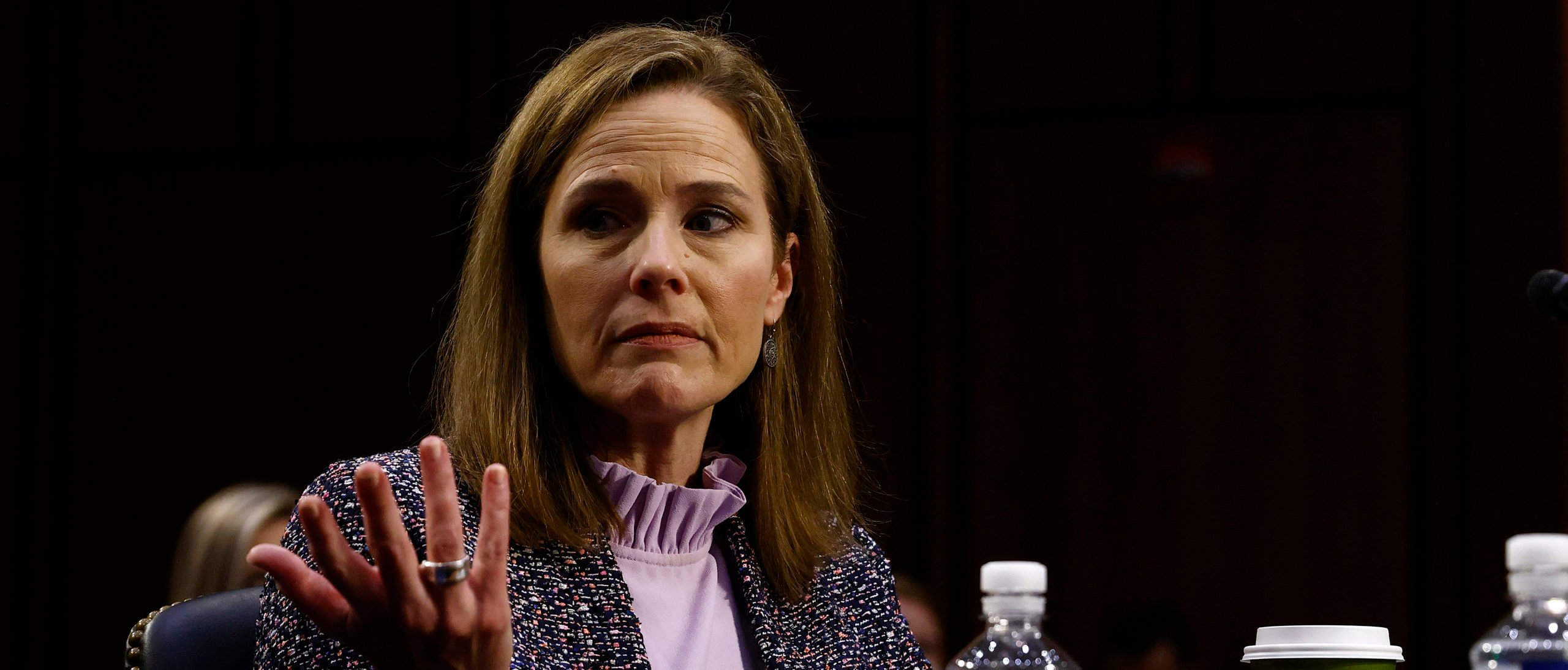 WASHINGTON, DC - OCTOBER 14: Supreme Court nominee Amy Coney Barrett speaks during her Senate Judiciary Committee confirmation hearing on Capitol Hill on October 14, 2020 in Washington, DC. (Photo by Samuel Corum/Getty Images)