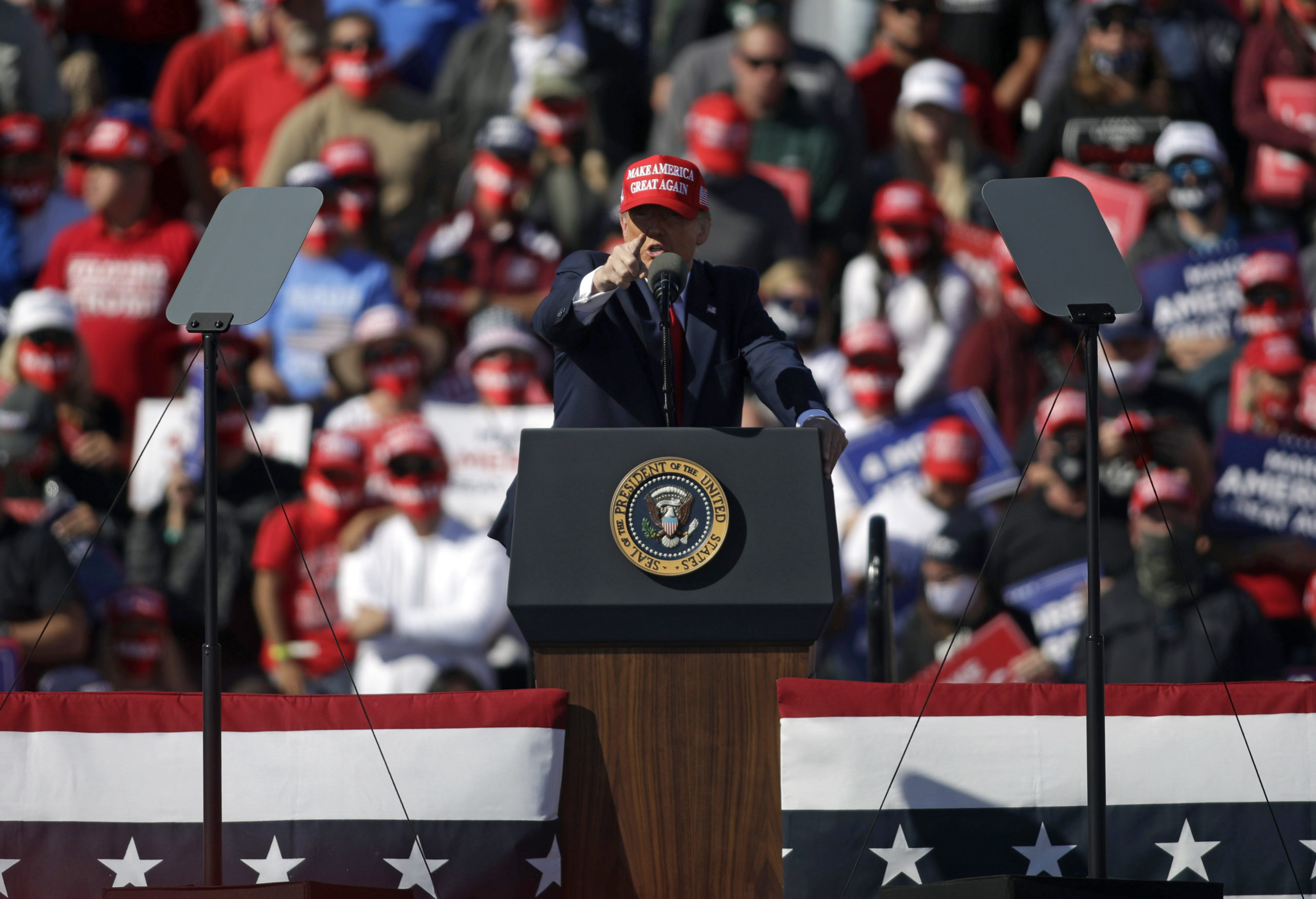 President Donald Trump speaks during a campaign rally on Wednesday in Bullhead City, Arizona. (Isaac Brekken/Getty Images)