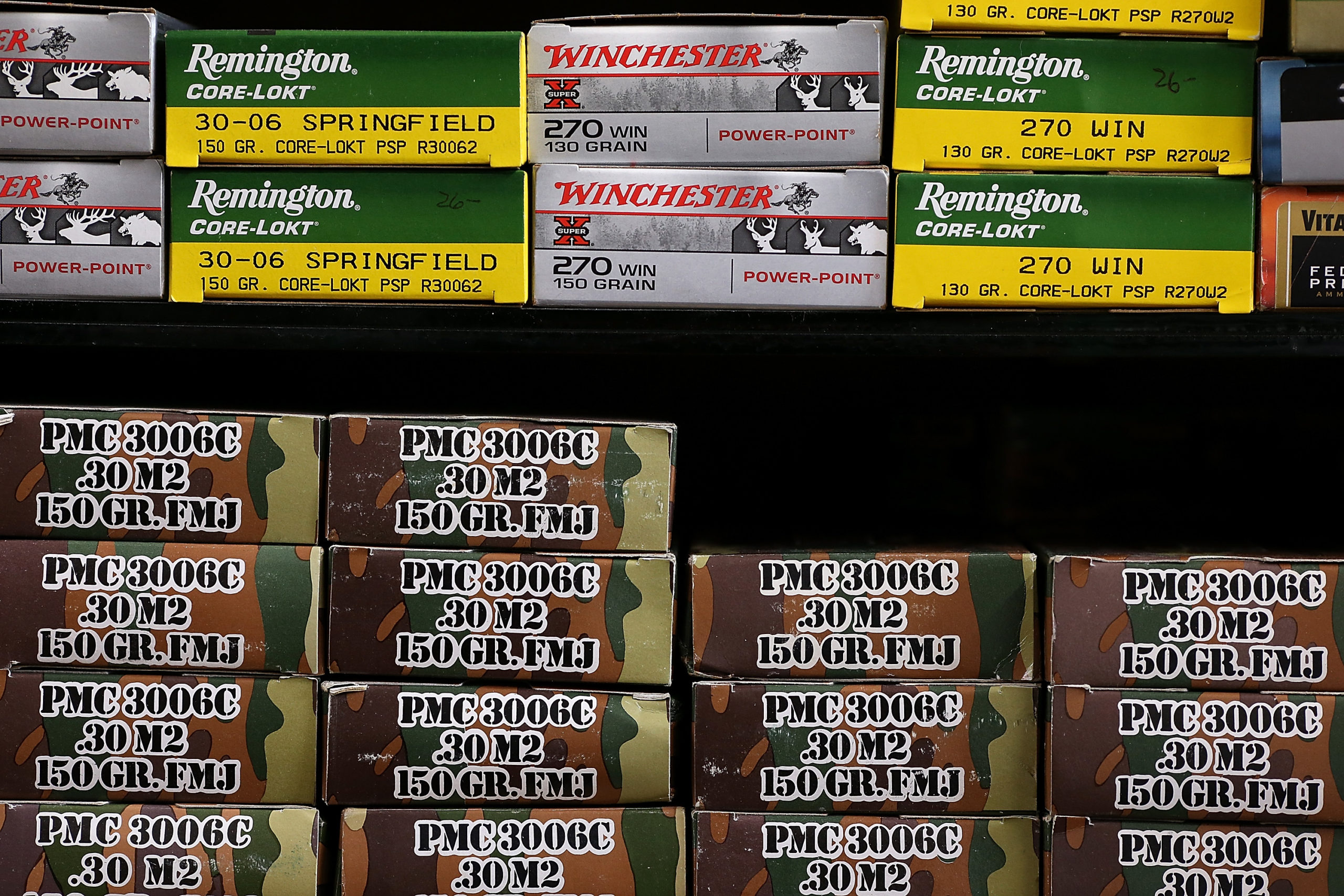 PETALUMA, CA - APRIL 02: Boxes of ammunition sit on the shelf at Sportsmans Arms on April 2, 2013 in Petaluma, California. In the wake of the Newtown, Connecticut school massacare, California State lawmakers are introducing several bills that propose taxing and regulating sales of ammunition. Another bill is aimed to require a background check and annual permit fee to purchase any ammunition. (Photo by Justin Sullivan/Getty Images)