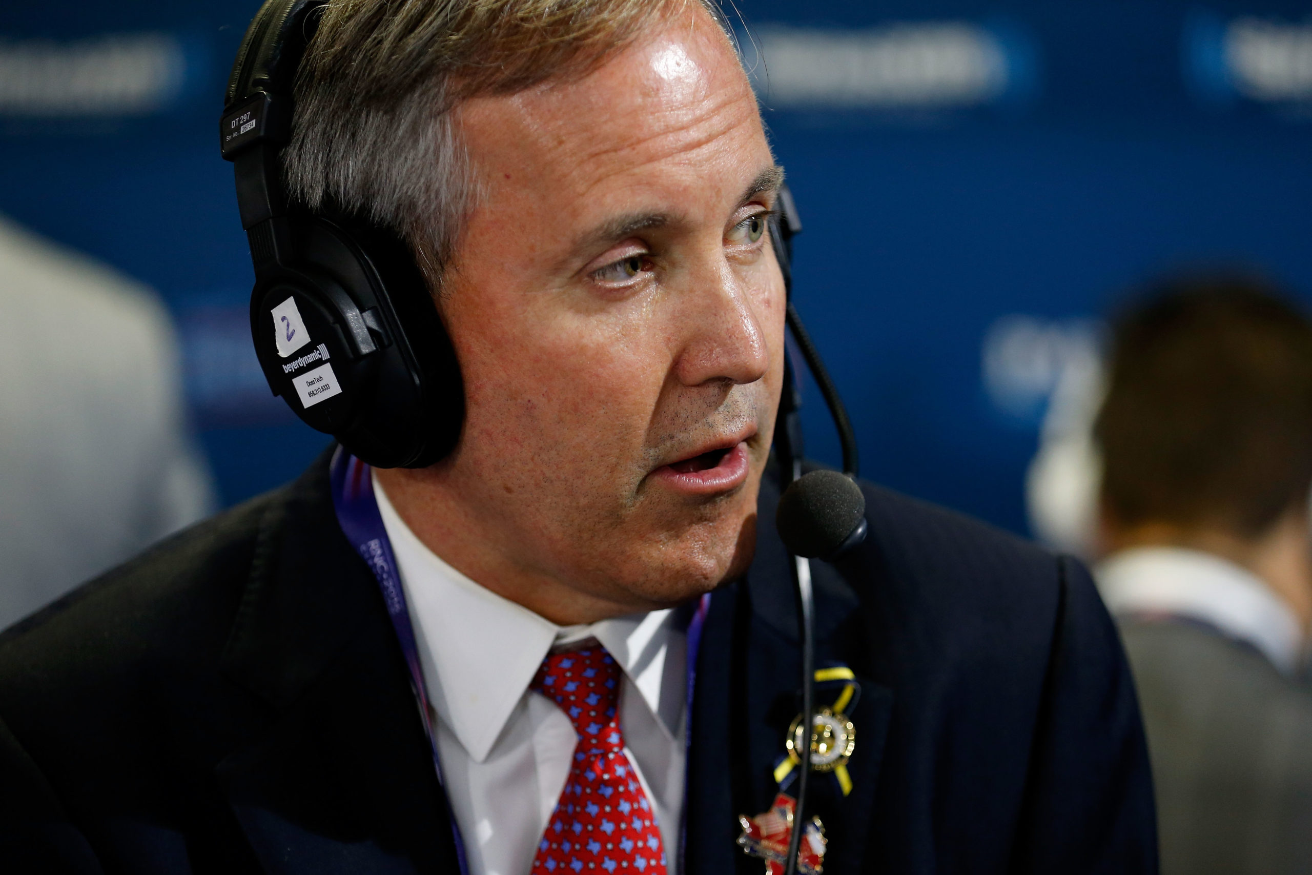 """CLEVELAND, OH - JULY 20: Texas Attorney General Ken Paxton sits down to talk with Andrew Wilkow on his show """"The Wilkow Majority"""" at Quicken Loans Arena on July 20, 2016 in Cleveland, Ohio. (Photo by Kirk Irwin/Getty Images for SiriusXM)"""