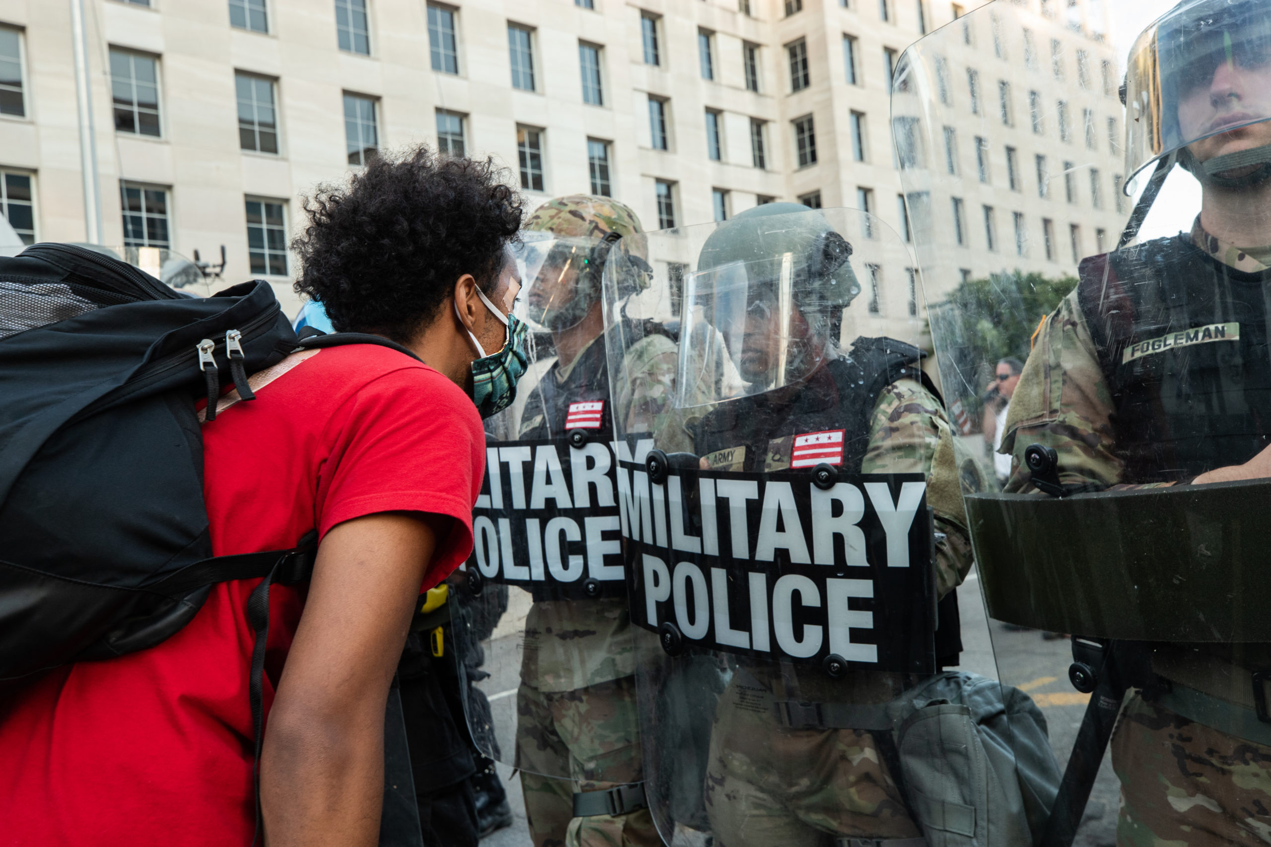 A protester confronts police officials in Washington, D.C. on June 1, 2020. (Kaylee Greenlee - DCNF)