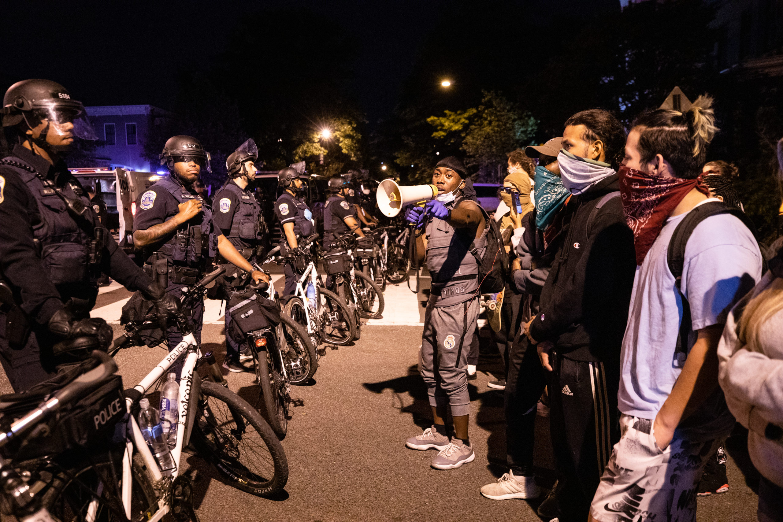 Protesters stand in front of a police bike line in Washington, D.C. on June 1, 2020. (Kaylee Greenlee - DCNF)