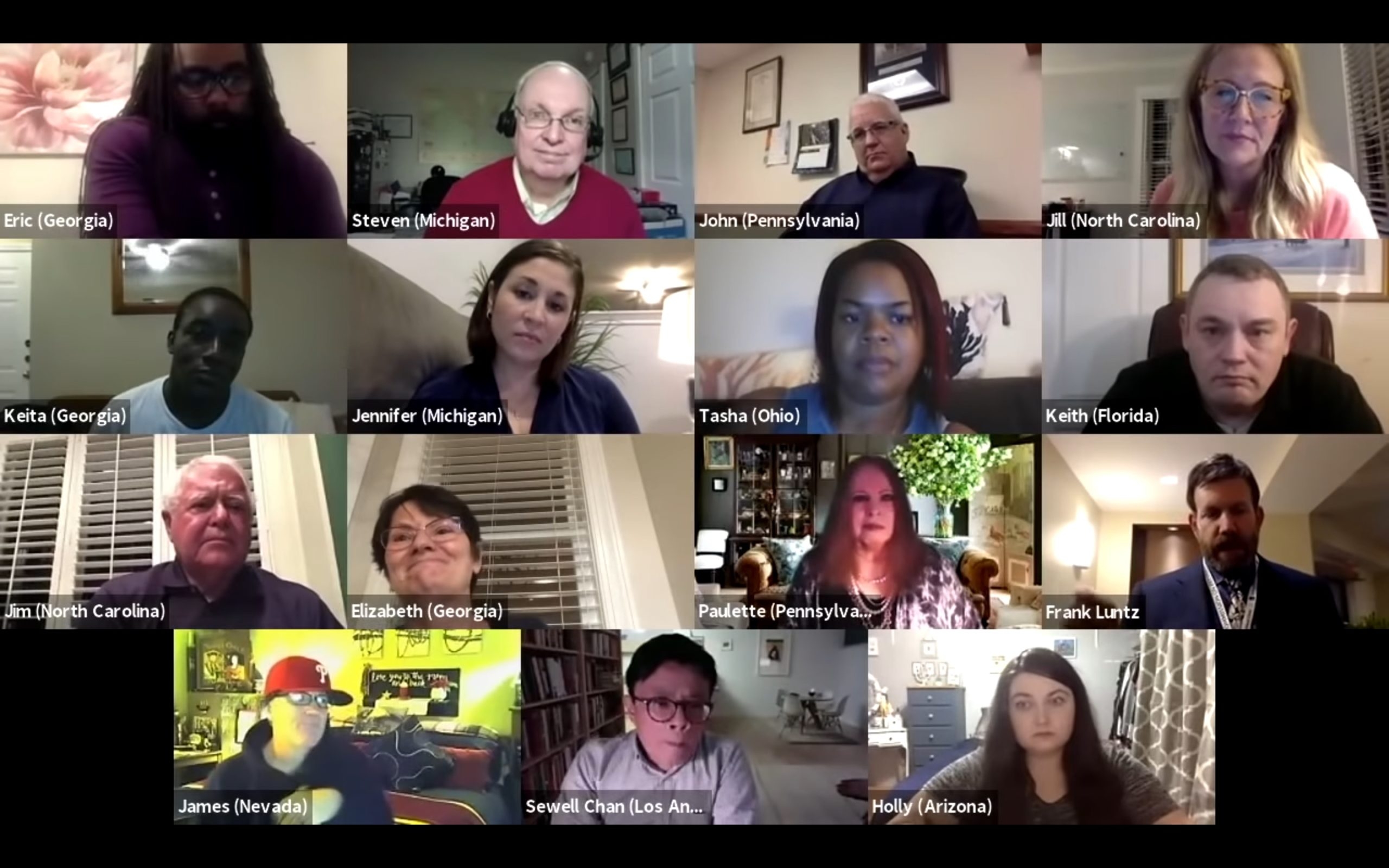 Frank Luntz hosts a virtual panel of undecided voters on Thursday following the final 2020 presidential debate between President Donald Trump and former Vice President Joe Biden. (Frank Luntz/Video screenshot/YouTube)