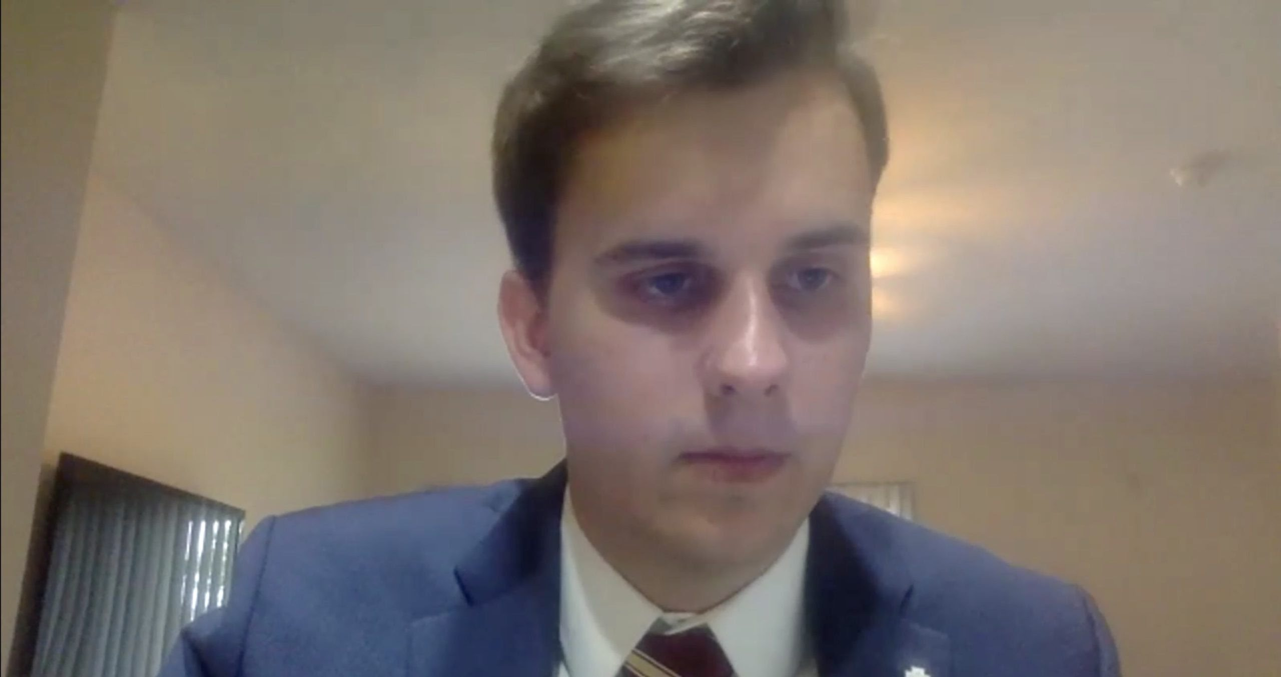 Jack Denton during a June 5 virtual FSU student Senate meeting in which senators voted on a no confidence motion. (Florida State University/Zoom/Screenshot)