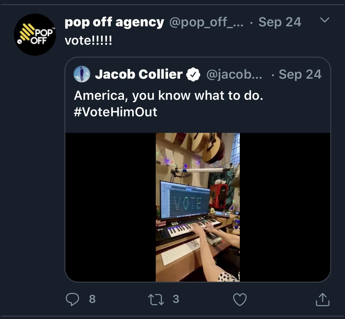 Pop Off retweeted a photo on Twitter encouraging voters to 'vote' (Screenshot/Danielle Reiss)