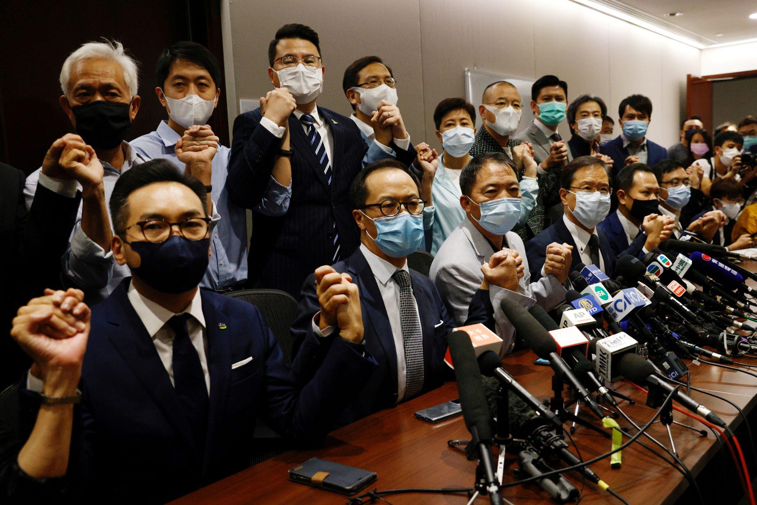 Pan-democratic legislators including Wu Chi-Wai, Claudia Mo and Lam Cheuk-ting announced to resign from the Legislative Council after Alvin Yeung Ngok-kiu, Kwok Ka-ki, Kenneth Leung and Dennis Kwok were disqualified when China passed a new resolution in Hong Kong, China November 11, 2020. REUTERS/Tyrone Siu