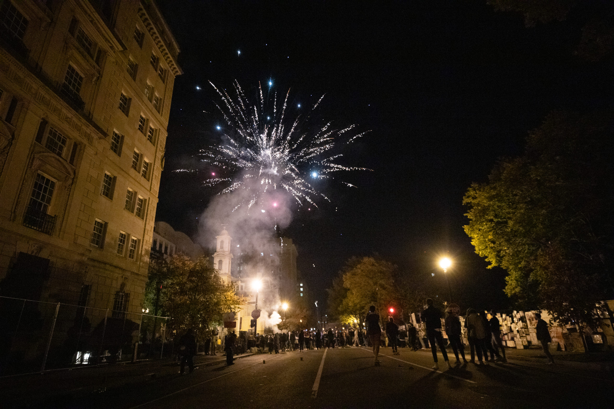 Several fireworks were set off at Black Lives Matter Plaza early Sunday morning in celebration of the predicted election of Democratic nominee Joe Biden and Kamala Harris, in Washington D.C. on Nov. 8, 2020. (Kaylee Greenlee - Daily Caller News Foundation)