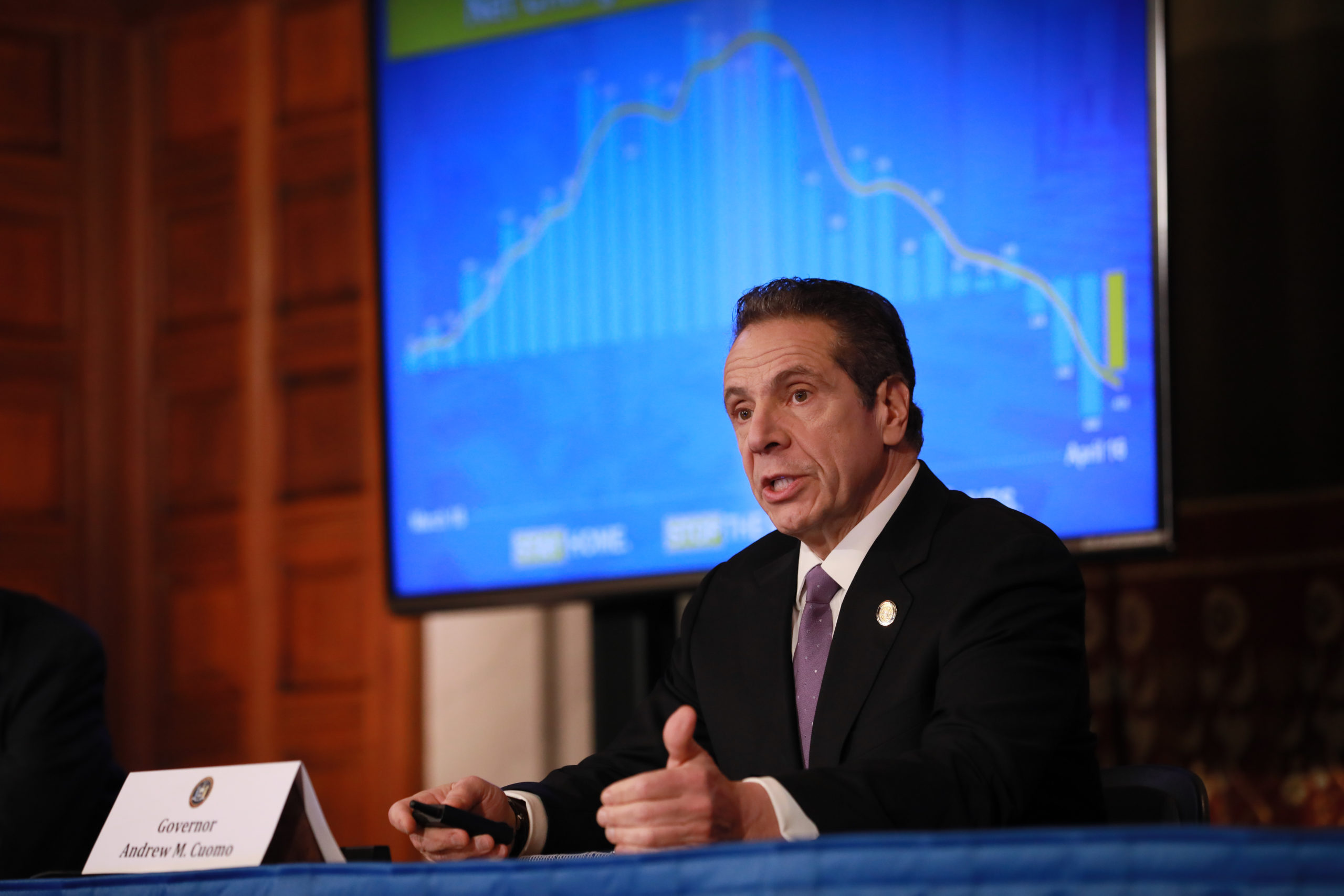 New York Governor Andrew Cuomo gives his a press briefing about the coronavirus crisis on April 17, 2020 in Albany, New York.(Photo by Matthew Cavanaugh/Getty Images)