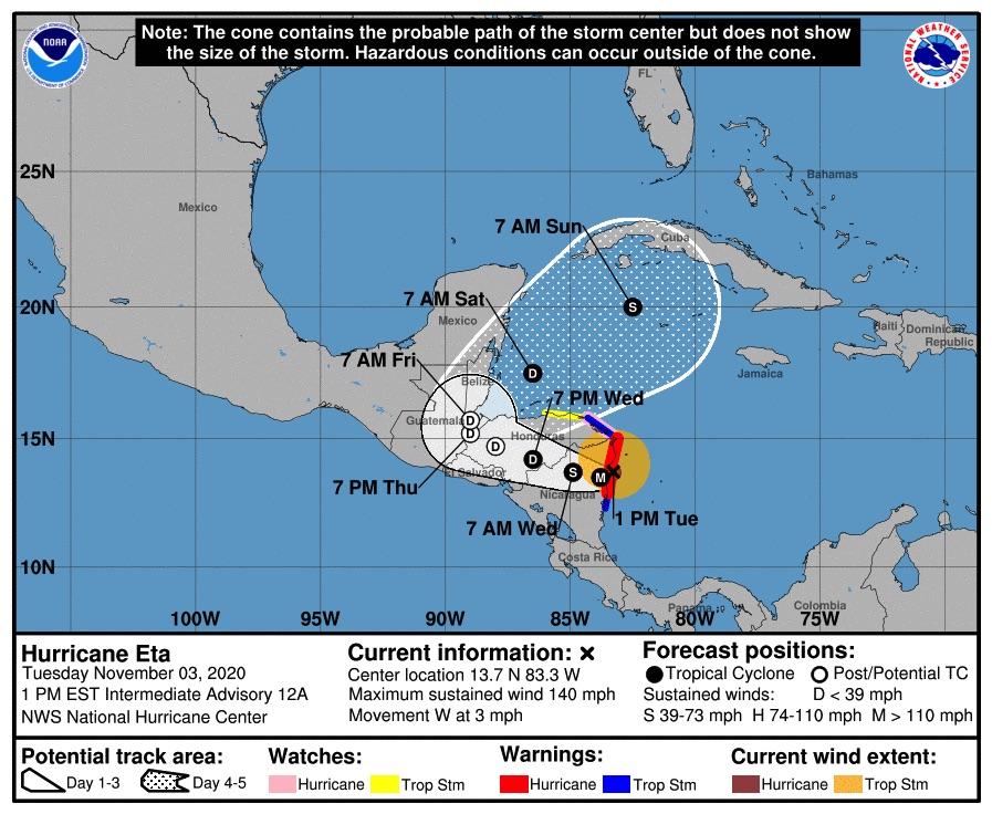 Hurricane Eta track map-1.pm./ CREDIT: NOAA