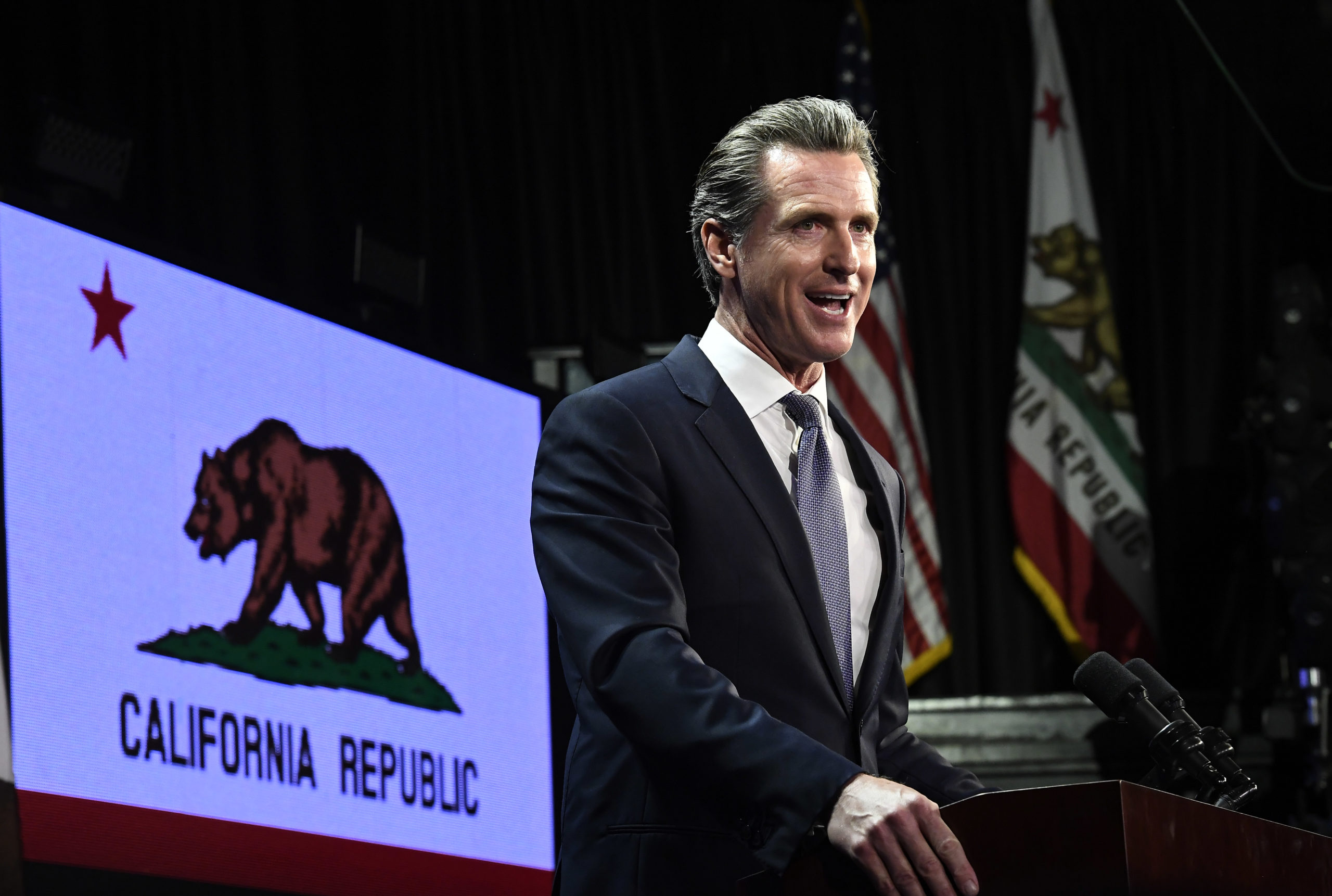 Democratic gubernatorial candidate Gavin Newsom speaks in 2018 in Los Angeles, California. (Kevork Djansezian/Getty Images)