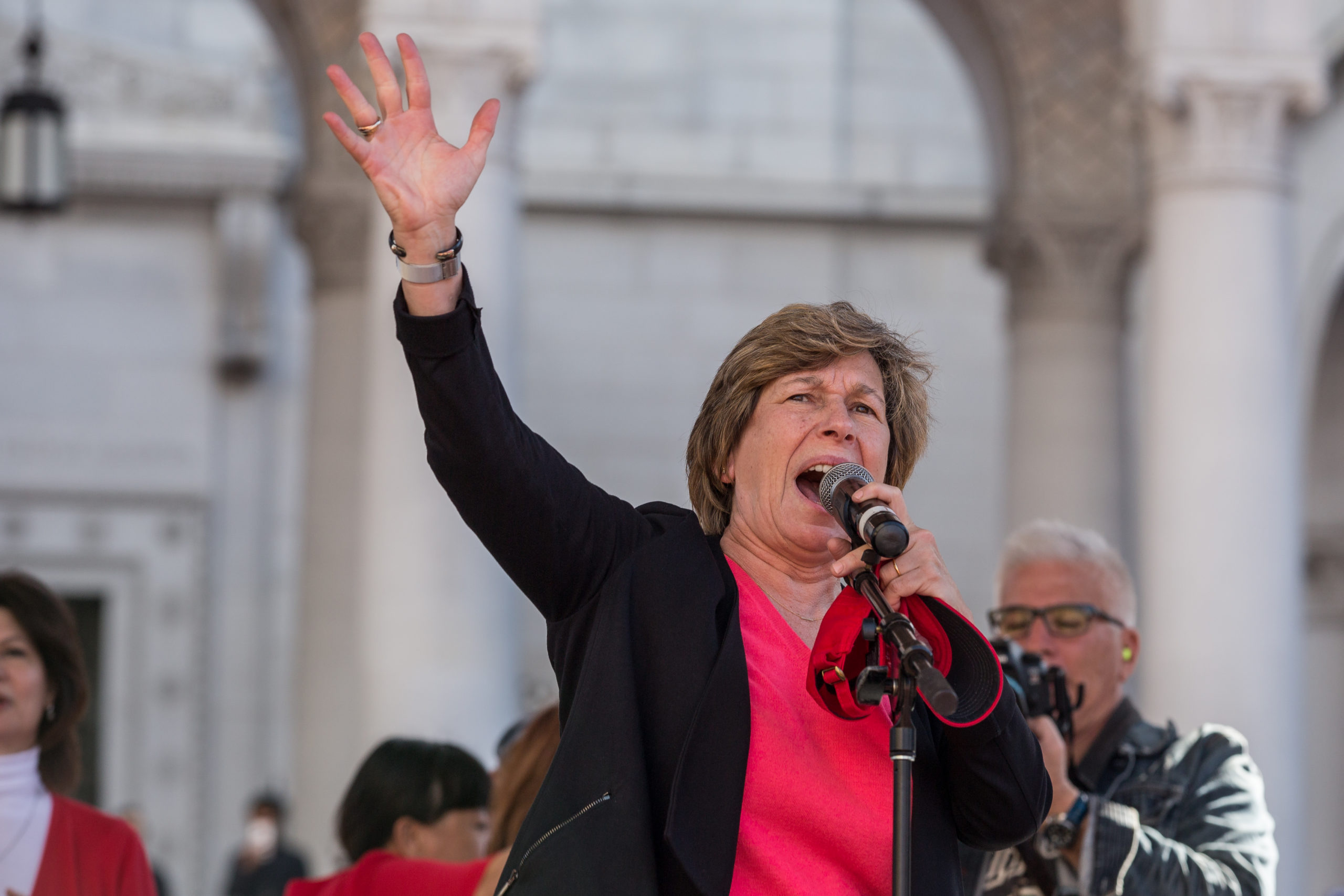 LOS ANGELES, CA - JANUARY 22: American Federation of Teachers president Randi Weingarten speaks to a crowd of striking teachers in Grand Park on January 22, 2019 in downtown Los Angeles, California. Thousands of striking teachers, educators, students, parents, and supporters cheered for victory at a massive rally after it was announced that a tentative deal between the United Teachers of Los Angeles union and the Los Angeles Unified School District heavily favored educators' demands including a cap on rising class sizes, funding for school nurses, and a significant pay increase. (Photo by Scott Heins/Getty Images)