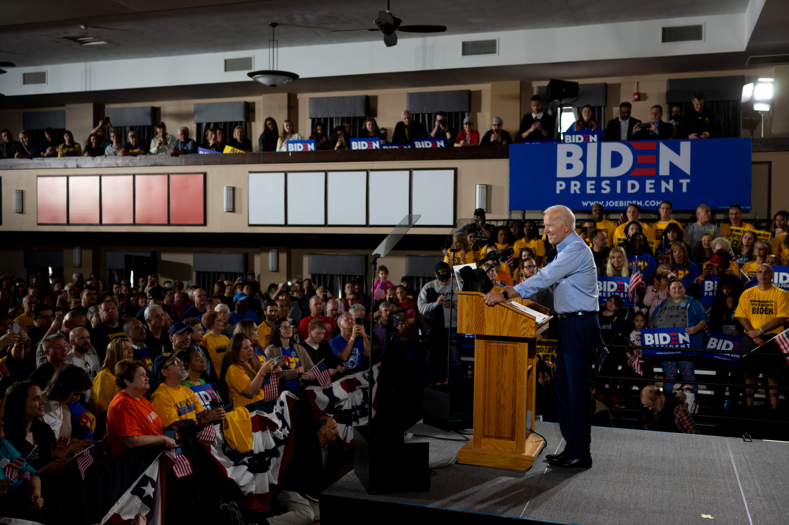 Former Vice President Joe Biden speaks at a campaign rally at Teamsters Local 249 Union Hall on April 29, 2019 in Pittsburgh, Pennsylvania. (Jeff Swensen/Getty Images)
