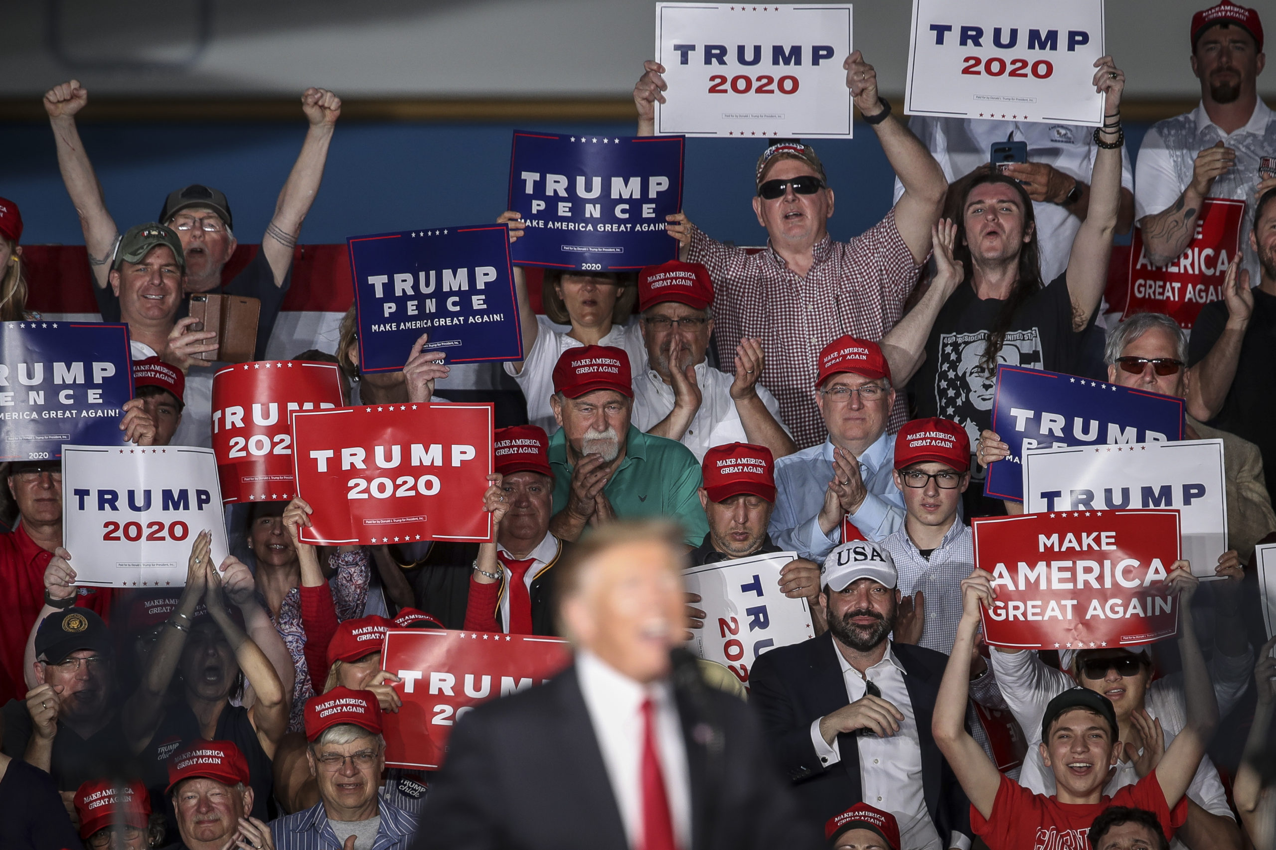 MONTOURSVILLE, PA - MAY 20: The crowd cheers as U.S. President Donald Trump speaks during a 'Make America Great Again' campaign rally at Williamsport Regional Airport, May 20, 2019 in Montoursville, Pennsylvania. Trump is making a trip to the swing state to drum up Republican support on the eve of a special election in Pennsylvania's 12th congressional district, with Republican Fred Keller facing off against Democrat Marc Friedenberg. (Photo by Drew Angerer/Getty Images)