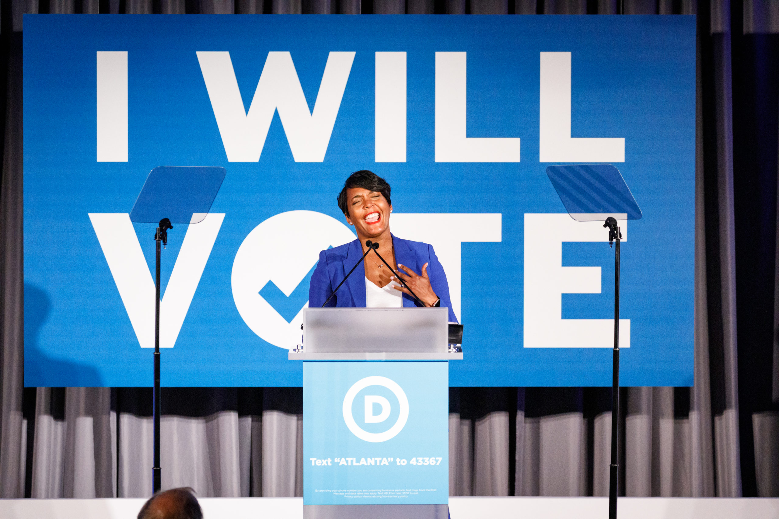 ATLANTA, GA - JUNE 06: Atlanta Mayor Keisha Lance Bottoms speaks to a crowd at a Democratic National Committee event at Flourish on June 6, 2019 in Atlanta, Georgia. The DNC held a gala at an event space in the Buckhead area of Atlanta to raise money for the DNCs IWillVote program, which is aimed at registering voters. (Photo by Dustin Chambers/Getty Images)