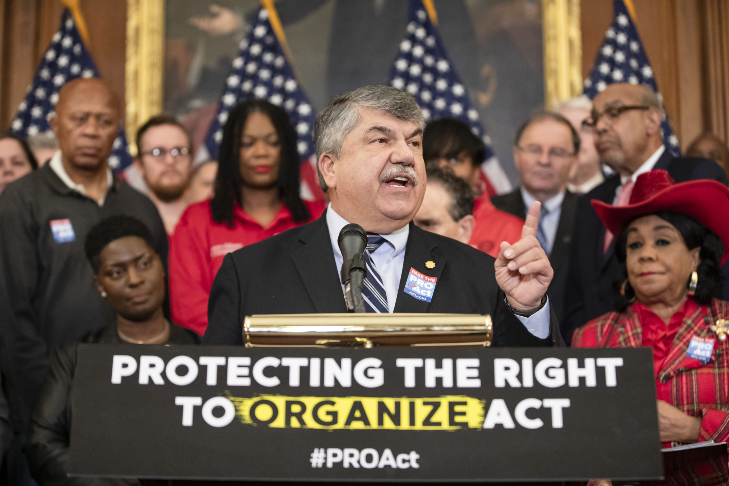 Richard Trumka, president of the AFL-CIO, speaks during a press conference advocating for the passage of the Protecting the Right to Organize Act on Feb. 5 in Washington, D.C. (Samuel Corum/Getty Images)