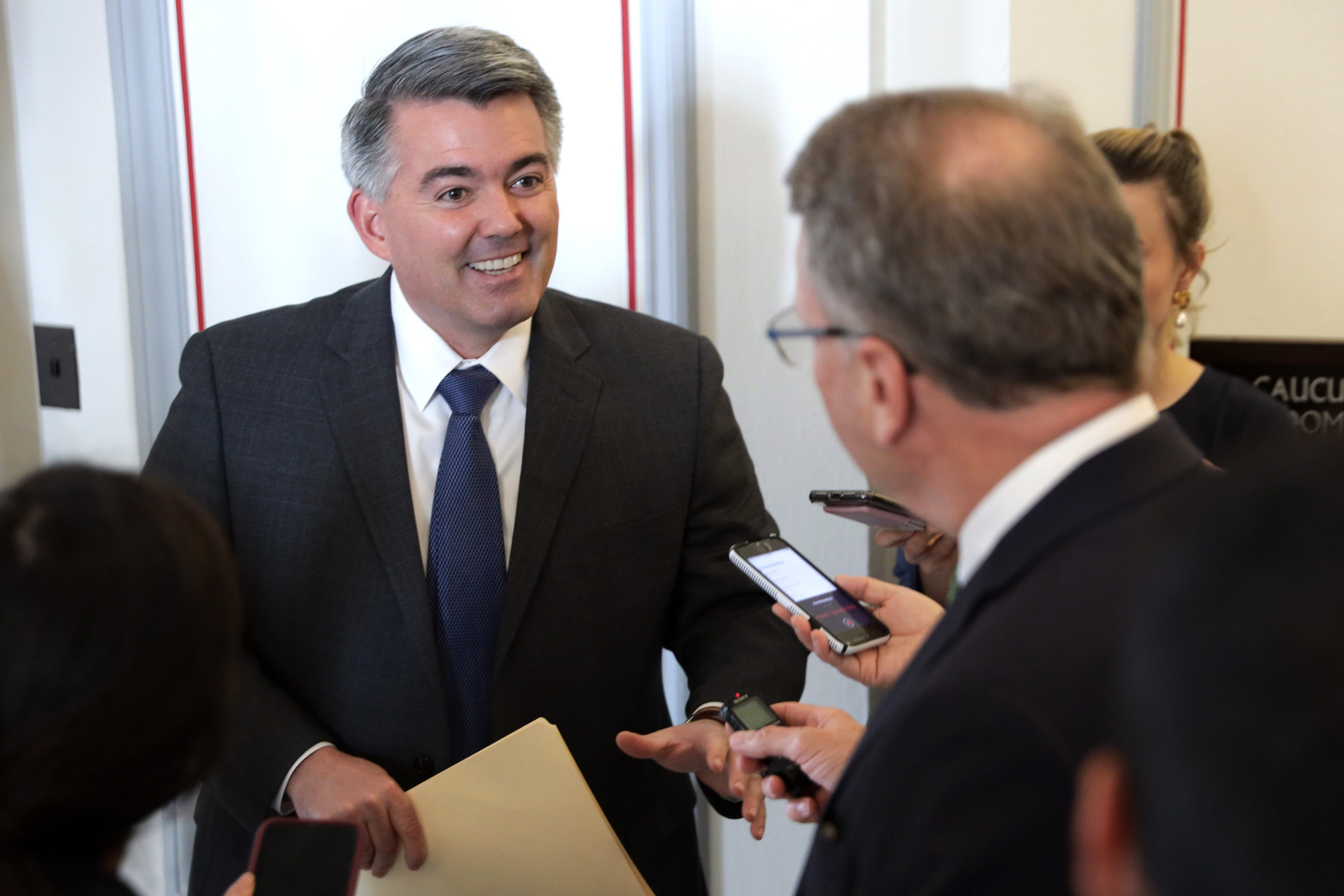 WASHINGTON, DC - MARCH 17: U.S. Sen. Cory Gardner (R-CO) speaks to members of the media as he arrives at the weekly Senate Republican Policy Luncheon March 17, 2020 at Russell Senate Office Building on Capitol Hill in Washington, DC. U.S. Secretary of the Treasury Steven Mnuchin is on Capitol Hill to urge senate GOPs to approve the passed House package in response to the outbreak of COVID-19, also known as coronavirus. (Photo by Alex Wong/Getty Images)