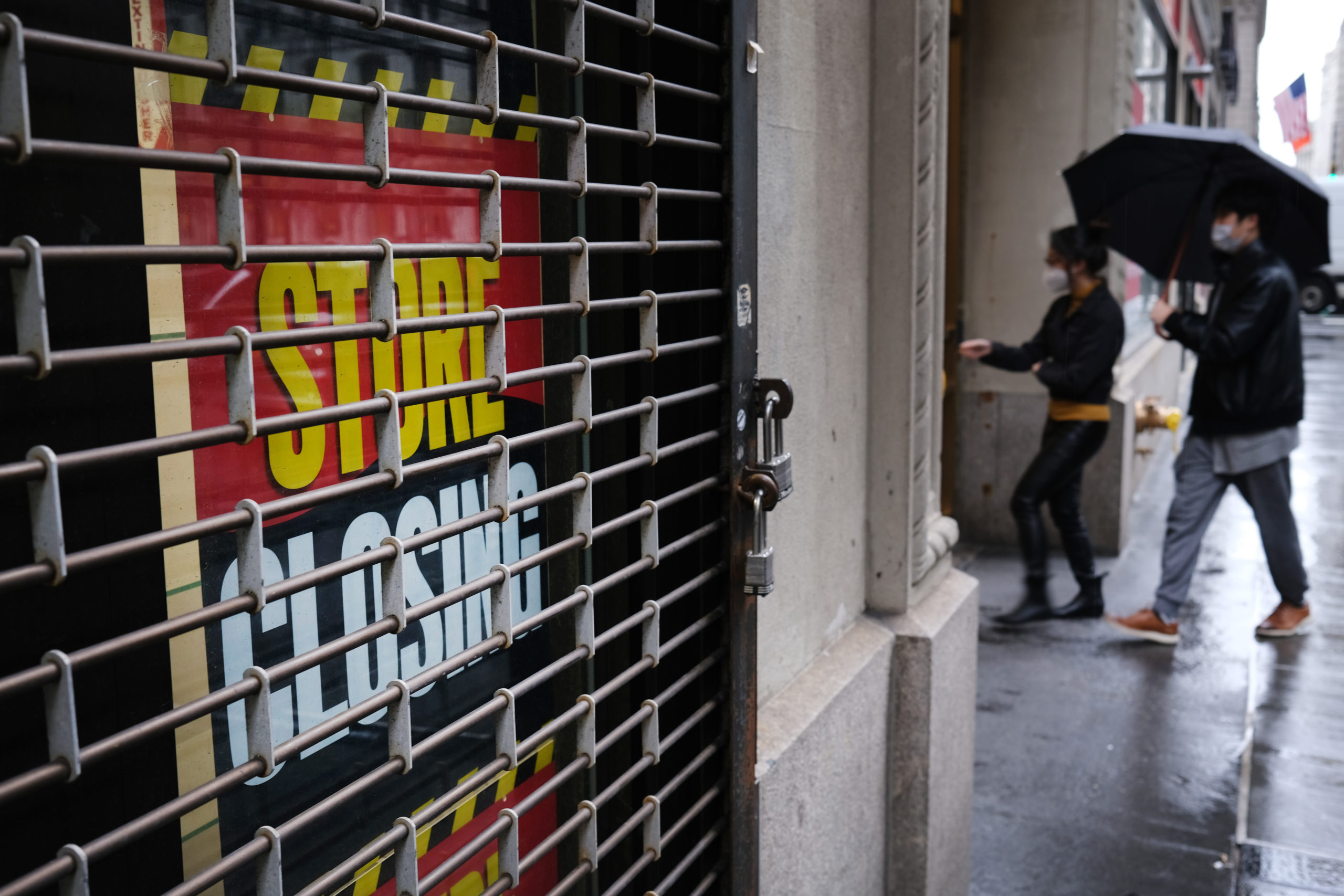 NEW YORK, NY - MAY 08: A store stands closed near Wall Street as the coronavirus keeps financial markets and businesses mostly closed on May 08, 2020 in New York City. The Bureau of Labor Statistics announced on Friday that the US economy lost 20.5 million jobs in April. This is the largest decline in jobs since the government began tracking the data in 1939. (Photo by Spencer Platt/Getty Images)