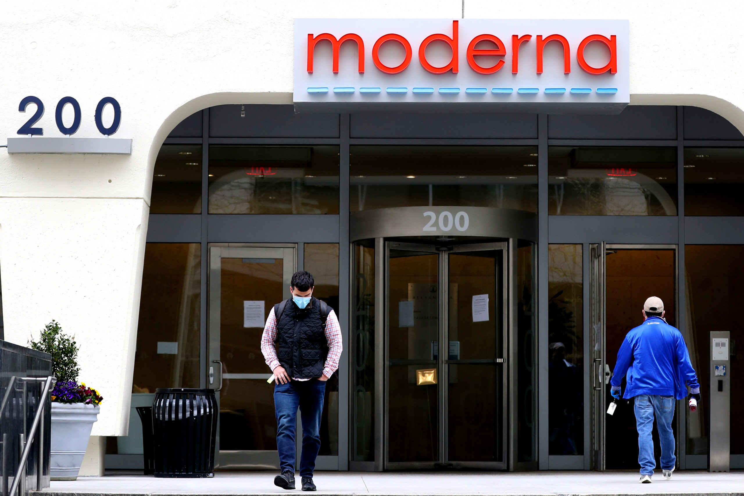 A view of Moderna headquarters in Cambridge, Massachusetts. (Maddie Meyer/Getty Images)