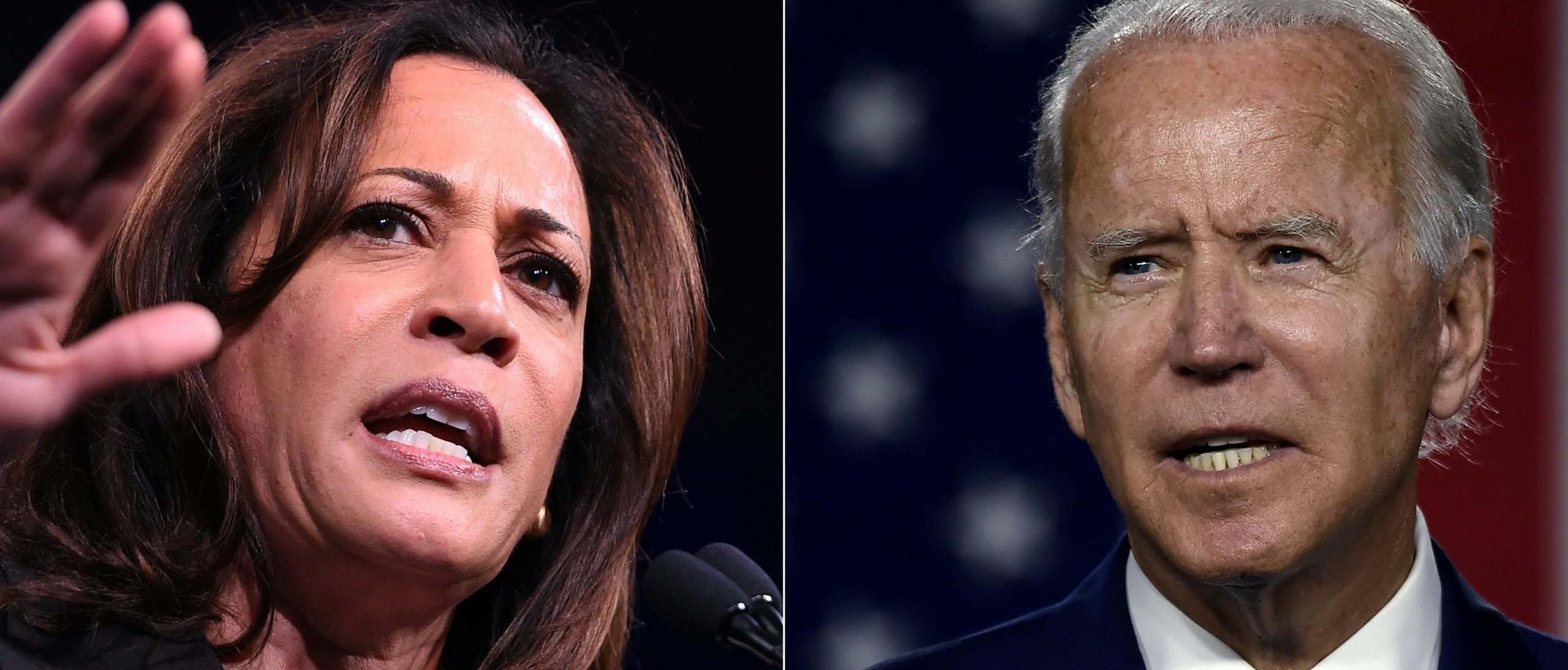 (COMBO) This combination of file pictures created on August 11, 2020 shows (L-R) US Democratic Presidential hopeful US Senator for California Kamala Harris in San Francisco, California on August 23, 2019; and Democratic presidential candidate and former Vice President Joe Biden on July 14, 2020 at the Chase Center in Wilmington, Delaware. - Biden named Kamala Harris, a high-profile black senator from California, as his vice presidential choice on August 11, 2020, capping a months-long search for a Democratic partner to challenge President Donald Trump in November. (Photos by JOSH EDELSON and Olivier DOULIERY / AFP) (Photo by JOSH EDELSON,OLIVIER DOULIERY/AFP via Getty Images)