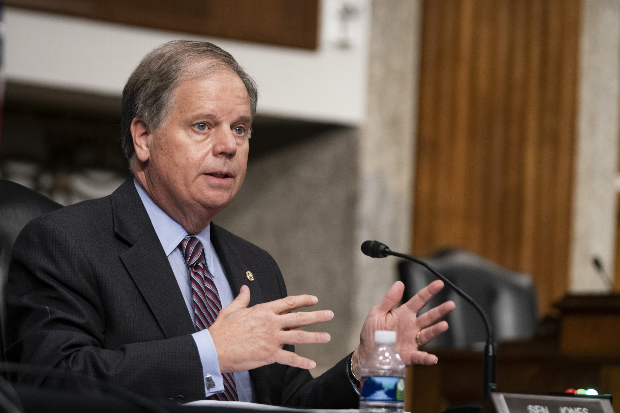 Alabama Sen. Doug Jones asks a question at a hearing on Sept. 23, in Washington, D.C. (Alex Edelman-Pool/Getty Images)