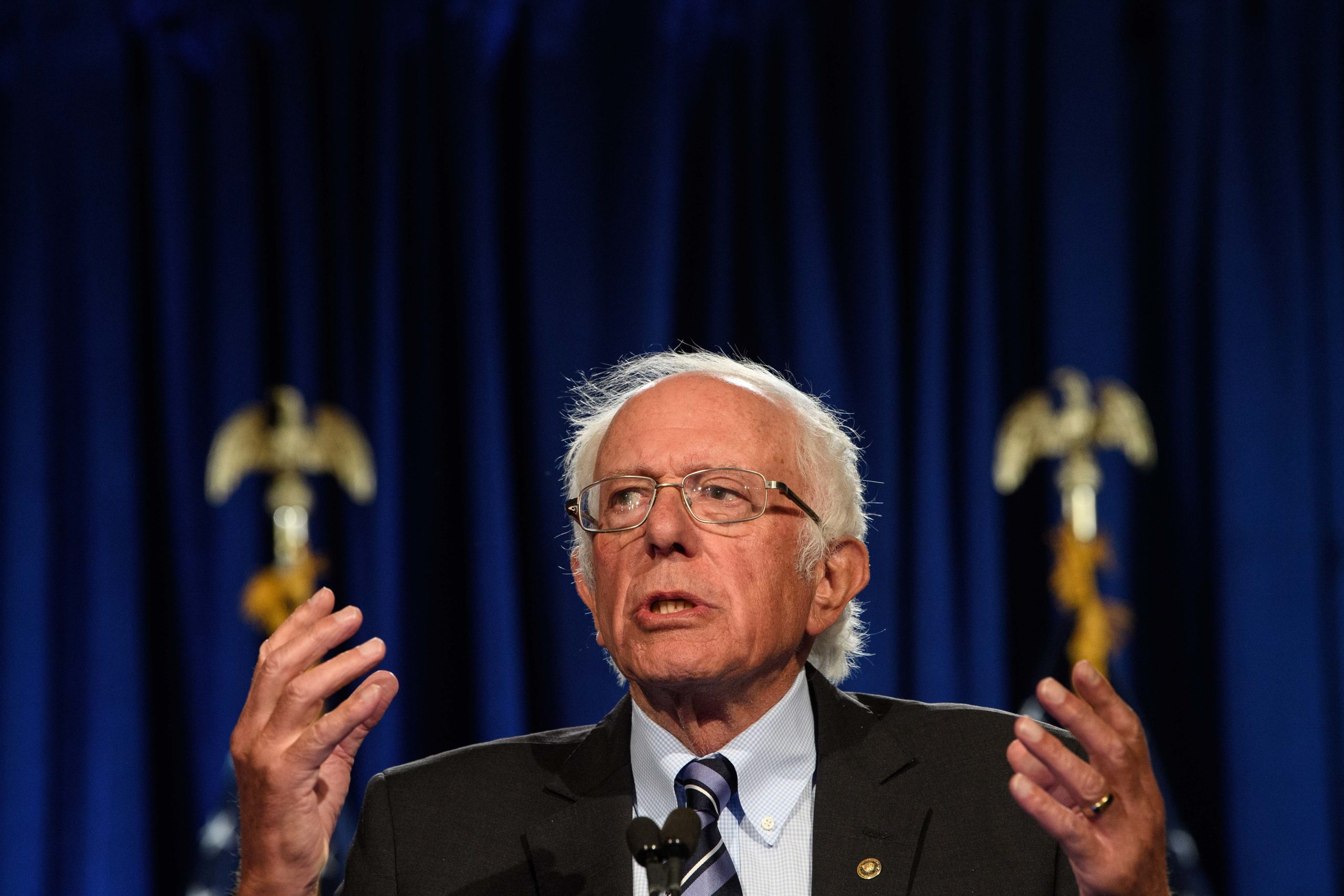 Sen. Bernie Sanders speaks at George Washington University in Washington, DC, on Sept. 24. (Nicholas Kamm/AFP via Getty Images)