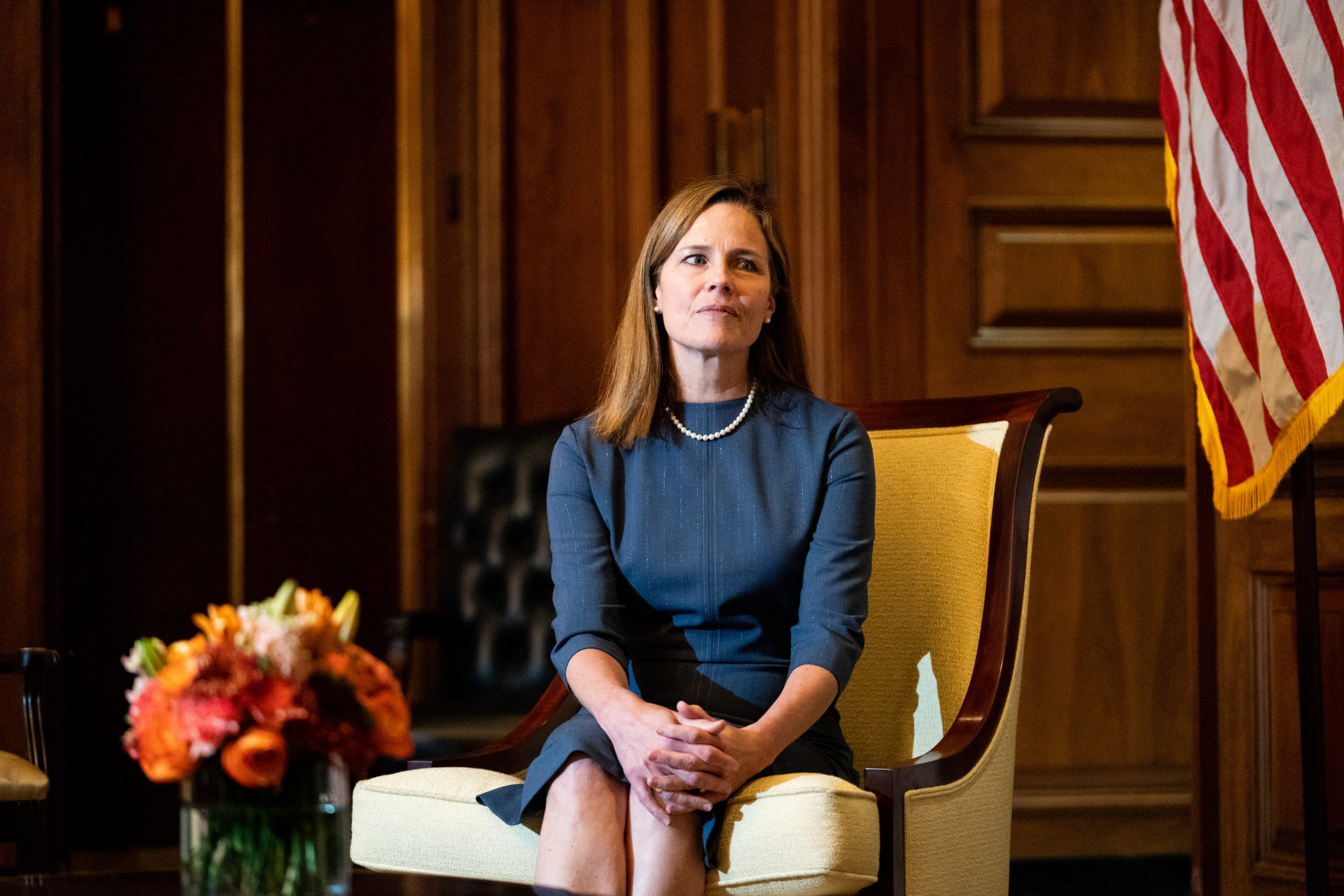 WASHINGTON, DC - SEPTEMBER 29: Seventh U.S. Circuit Court Judge Amy Coney Barrett, President Donald Trump's nominee for the U.S. Supreme Court, meets with Sen. Rick Scott (R-FL) as she begins a series of meetings to prepare for her confirmation hearing at the U.S. Capitol on September 29, 2020 in Washington, DC. (Photo by Anna Moneymaker-Pool/Getty Images)
