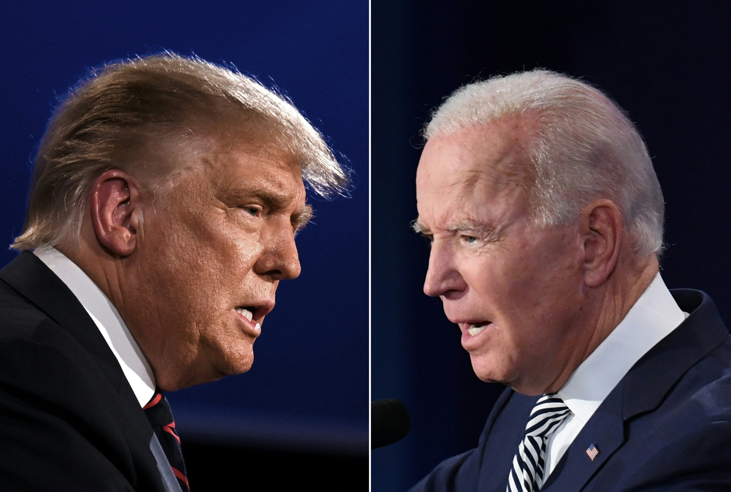 TOPSHOT - (COMBO) This combination of pictures created on September 29, 2020 shows US President Donald Trump (L) and Democratic Presidential candidate former Vice President Joe Biden squaring off during the first presidential debate at the Case Western Reserve University and Cleveland Clinic in Cleveland, Ohio on September 29, 2020. (Photos by JIM WATSON and SAUL LOEB / AFP) (Photo by JIM WATSON,SAUL LOEB/AFP via Getty Images)