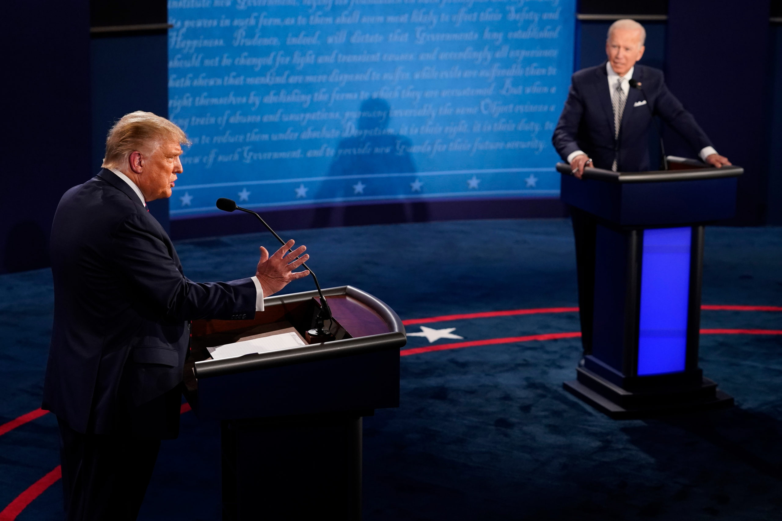 President Donald Trump speaks during the first presidential debate against Democratic presidential nominee Joe Biden on Sept. 29 in Cleveland, Ohio. (Morry Gash-Pool/Getty Images)