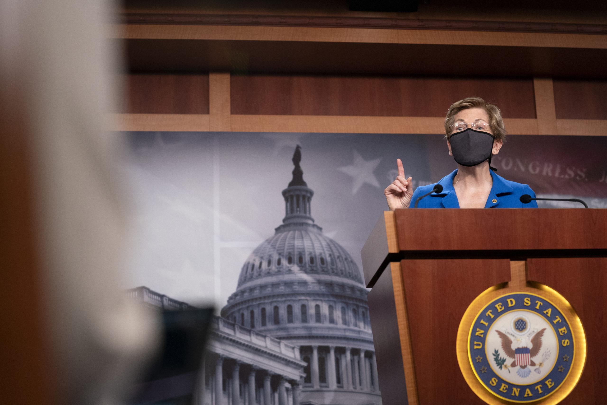 Massachusetts Sen. Elizabeth Warren speaks during a news conference on Capitol Hill on Oct. 20. (Stefani Reynolds/Getty Images)