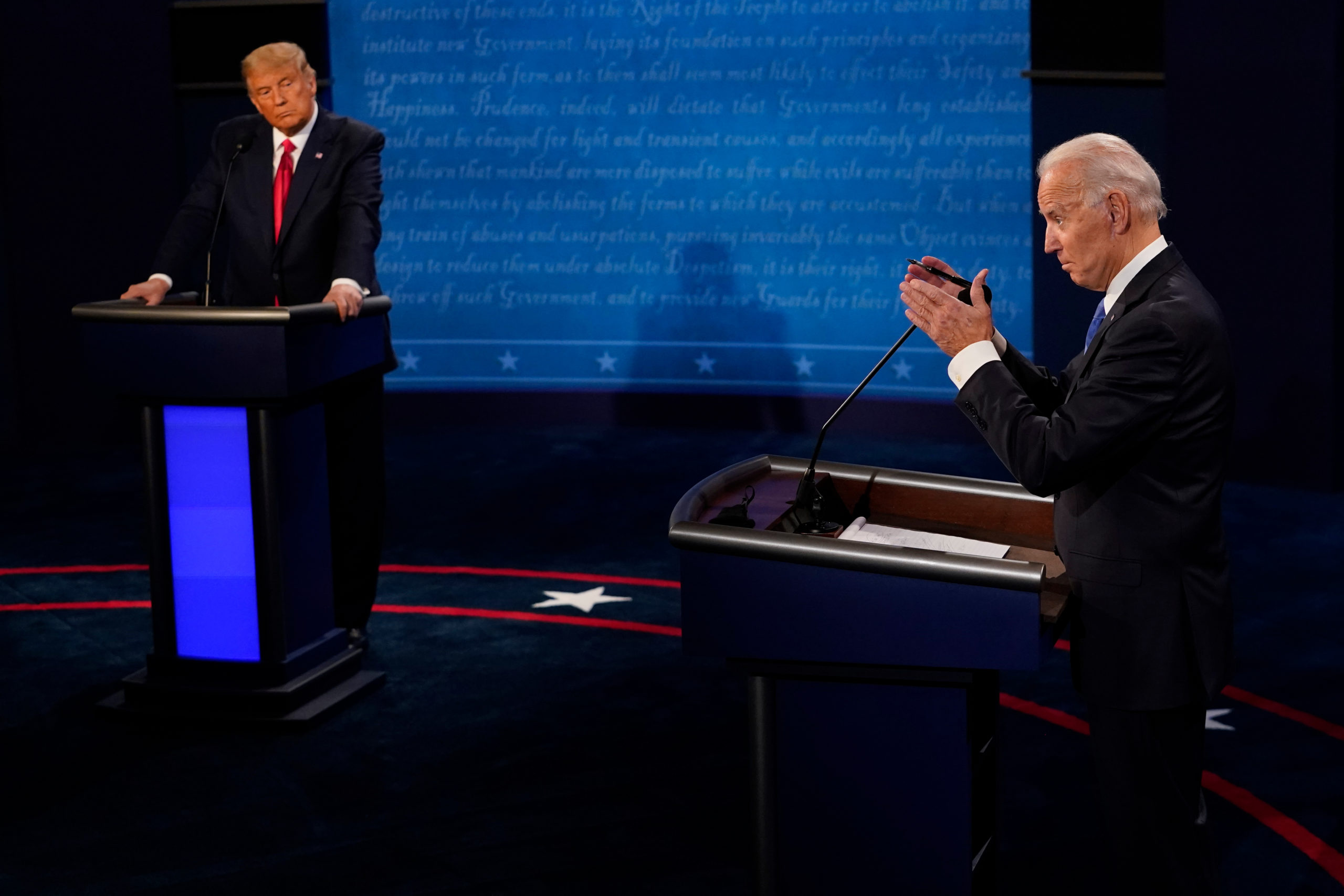 NASHVILLE, TENNESSEE - OCTOBER 22: Democratic presidential candidate former Vice President Joe Biden answers a question as President Donald Trump listens during the second and final presidential debate at Belmont University on October 22, 2020 in Nashville, Tennessee. This is the last debate between the two candidates before the election on November 3. (Photo by Morry Gash-Pool/Getty Images)