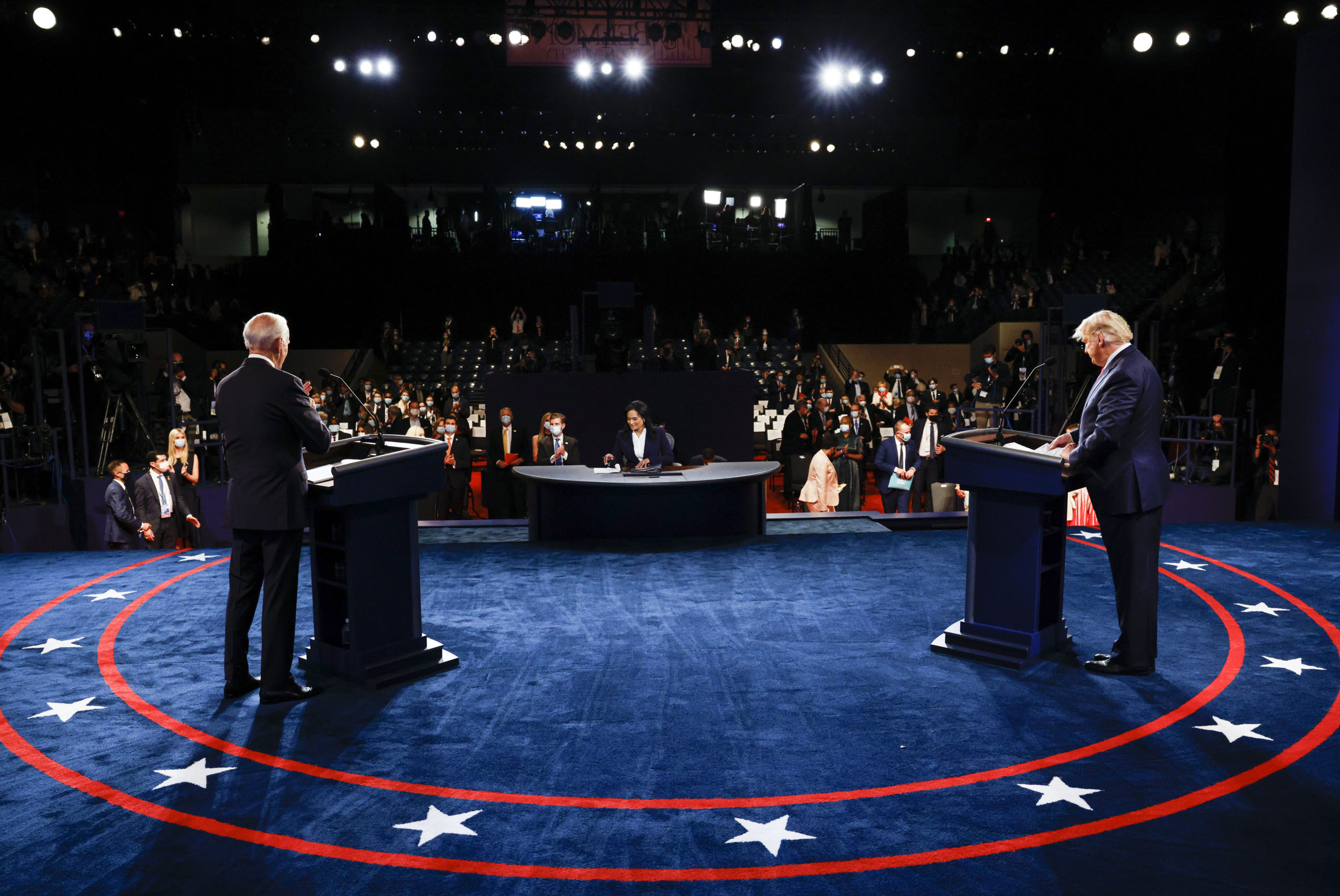 President Donald Trump and Democratic presidential nominee Joe Biden participate in the final presidential debate at Belmont University on Oct. 22. (Jim Bourg-Pool/Getty Images)