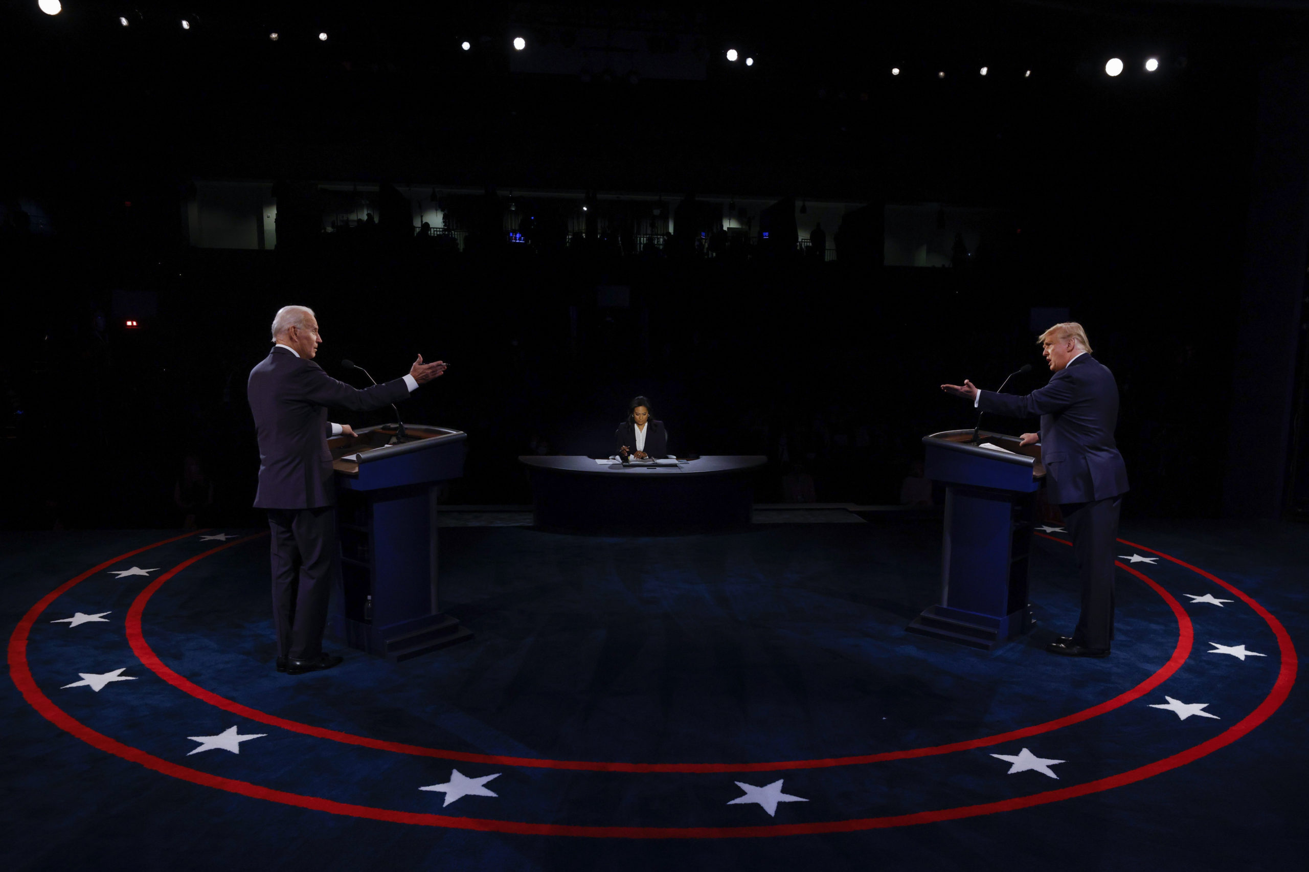 NASHVILLE, TENNESSEE - OCTOBER 22: U.S. President Donald Trump and Democratic presidential nominee Joe Biden participate in the final presidential debate at Belmont University on October 22, 2020 in Nashville, Tennessee. This is the last debate between the two candidates before the November 3 election. (Jim Bourg-Pool/Getty Images)