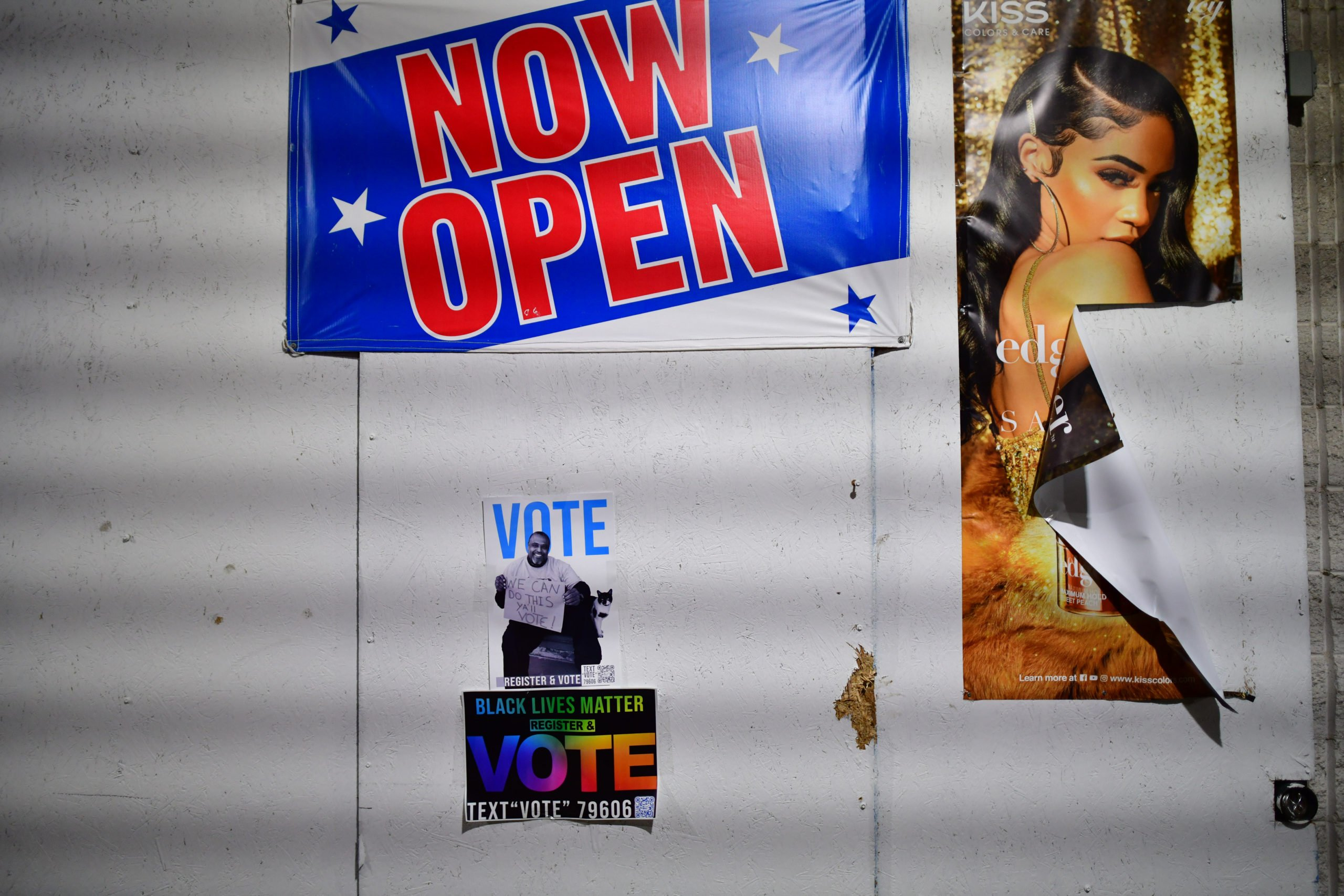 "PHILADELPHIA, PA - OCTOBER 28: Two ""VOTE"" posters are affixed to a beauty store exterior on October 28, 2020 in Philadelphia, Pennsylvania. With the election only a week away, this new form of in-person voting by using mail ballots, has enabled tens of millions of voters to cast their ballots before the general election. President Donald Trump held three rallies throughout Pennsylvania yesterday to bolster his reelection prospects. (Photo by Mark Makela/Getty Images)"