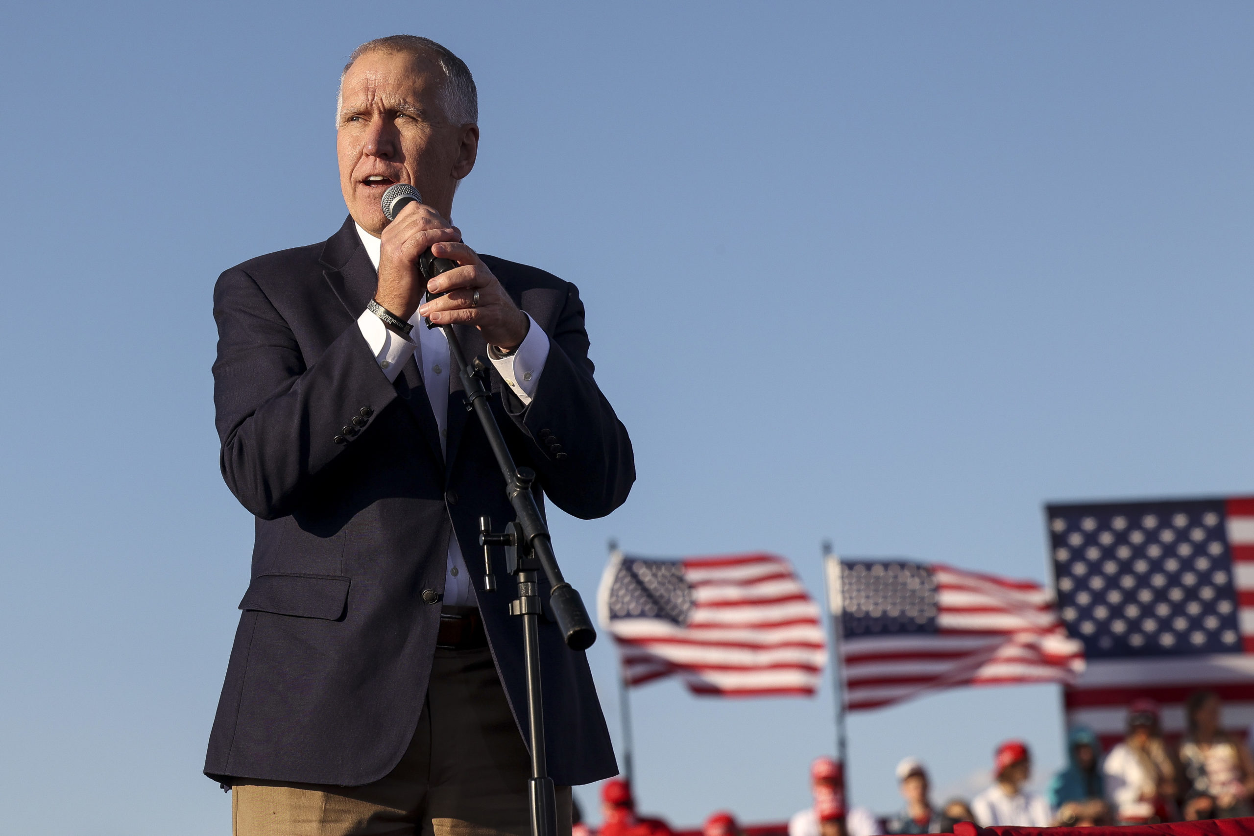 HICKORY, NC - NOVEMBER 01: Republican U.S. Senate candidate Sen. Thom Tillis (R-NC) speaks to the crowd before President Donald Trump holds a campaign rally at the Hickory Regional Airport on November 1, 2020 in Hickory, North Carolina. (Photo by Michael Ciaglo/Getty Images)