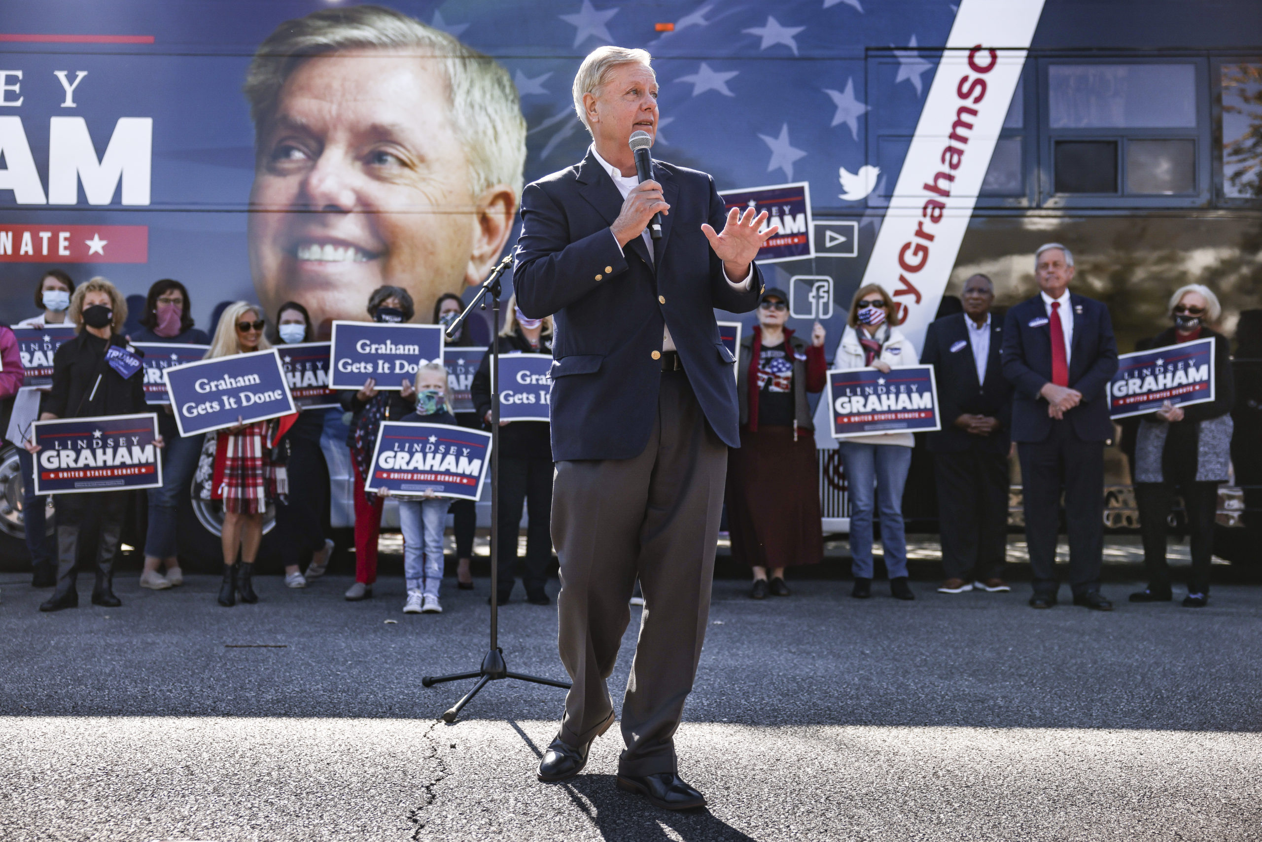 ROCK HILL, SC - NOVEMBER 02: Incumbent candidate Sen. Lindsey Graham (R-SC) speaks to supporters during a campaign bus tour on November 2, 2020 in Rock Hill, South Carolina. Graham is in a closely watched race with Democratic U.S. Senate candidate Jaime Harrison. (Photo by Michael Ciaglo/Getty Images)