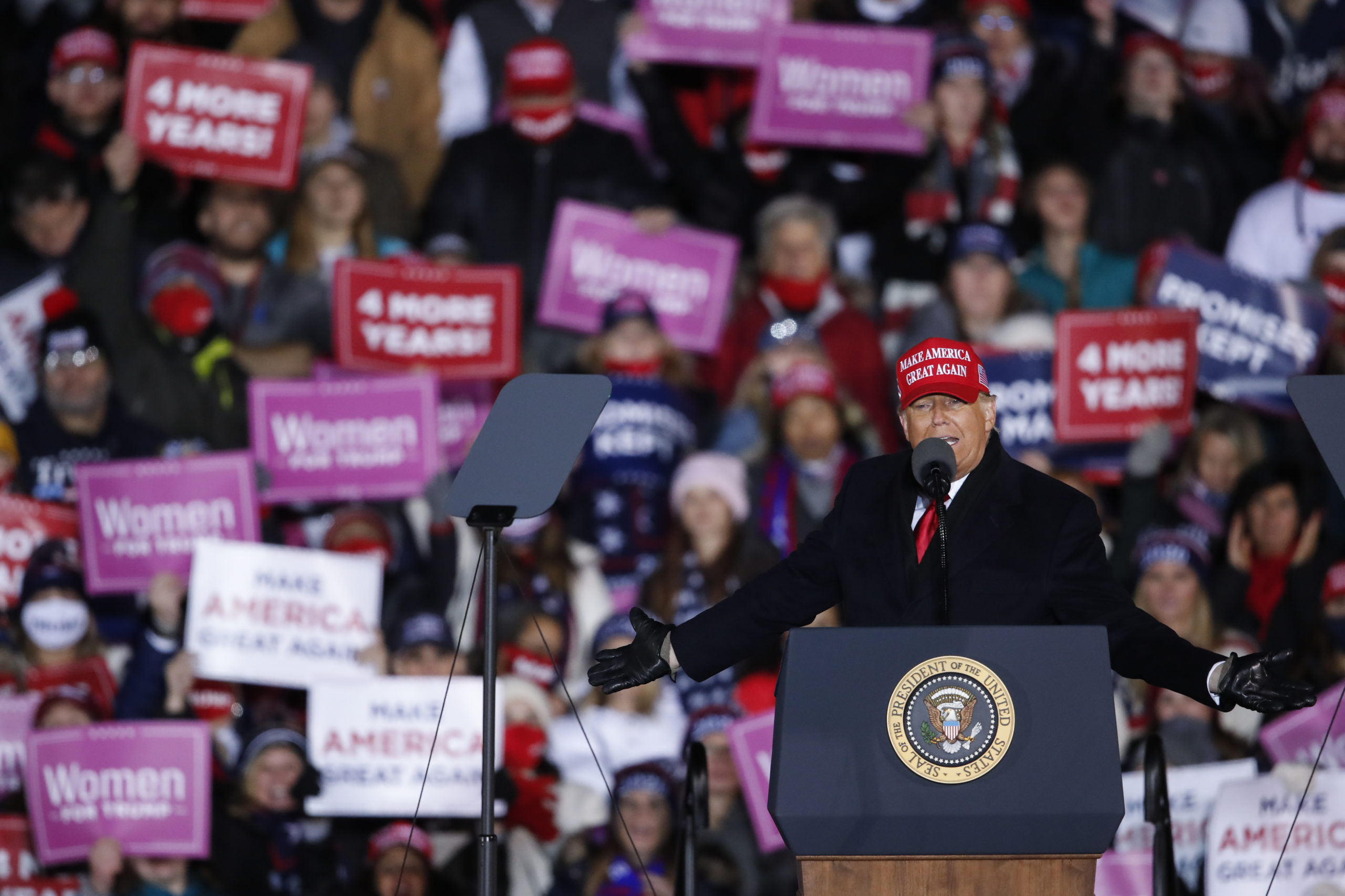 GRAND RAPIDS, MI - NOVEMBER 03: President Donald Trump speaks during a rally on November 3, 2020 in Grand Rapids, Michigan. Trump and Democratic presidential nominee Joe Biden are making last-minute stops in swing states ahead of tomorrow's general election. (Photo by Kamil Krzaczynski/Getty Images)
