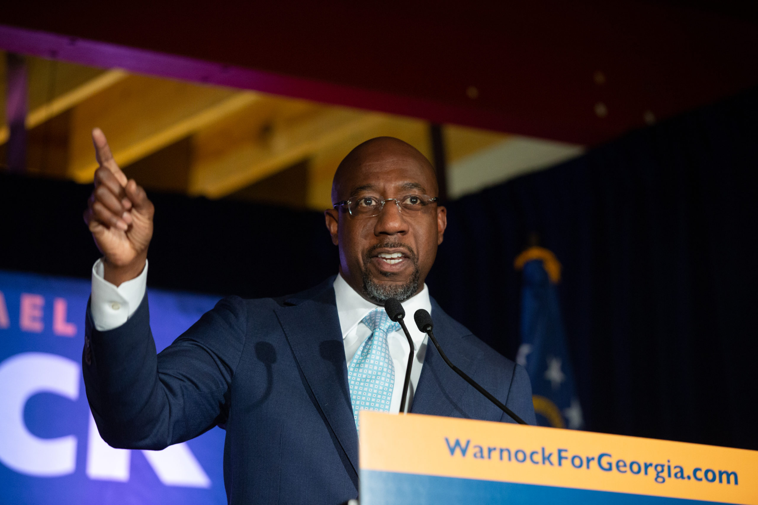 ATLANTA, GA - NOVEMBER 03: Democratic U.S. Senate candidate Rev. Raphael Warnock speaks during an Election Night event on November 3, 2020 in Atlanta, Georgia. Democratic Senate candidate Rev. Raphael Warnock is running in a special election against a crowded field, including U.S. Sen. Kelly Loeffler (R-GA), who was appointed by Gov. Brian Kemp to replace Johnny Isakson at the end of last year. Georgia is the only state with two Senate seats on the November 3 ballot. (Photo by Jessica McGowan/Getty Images)