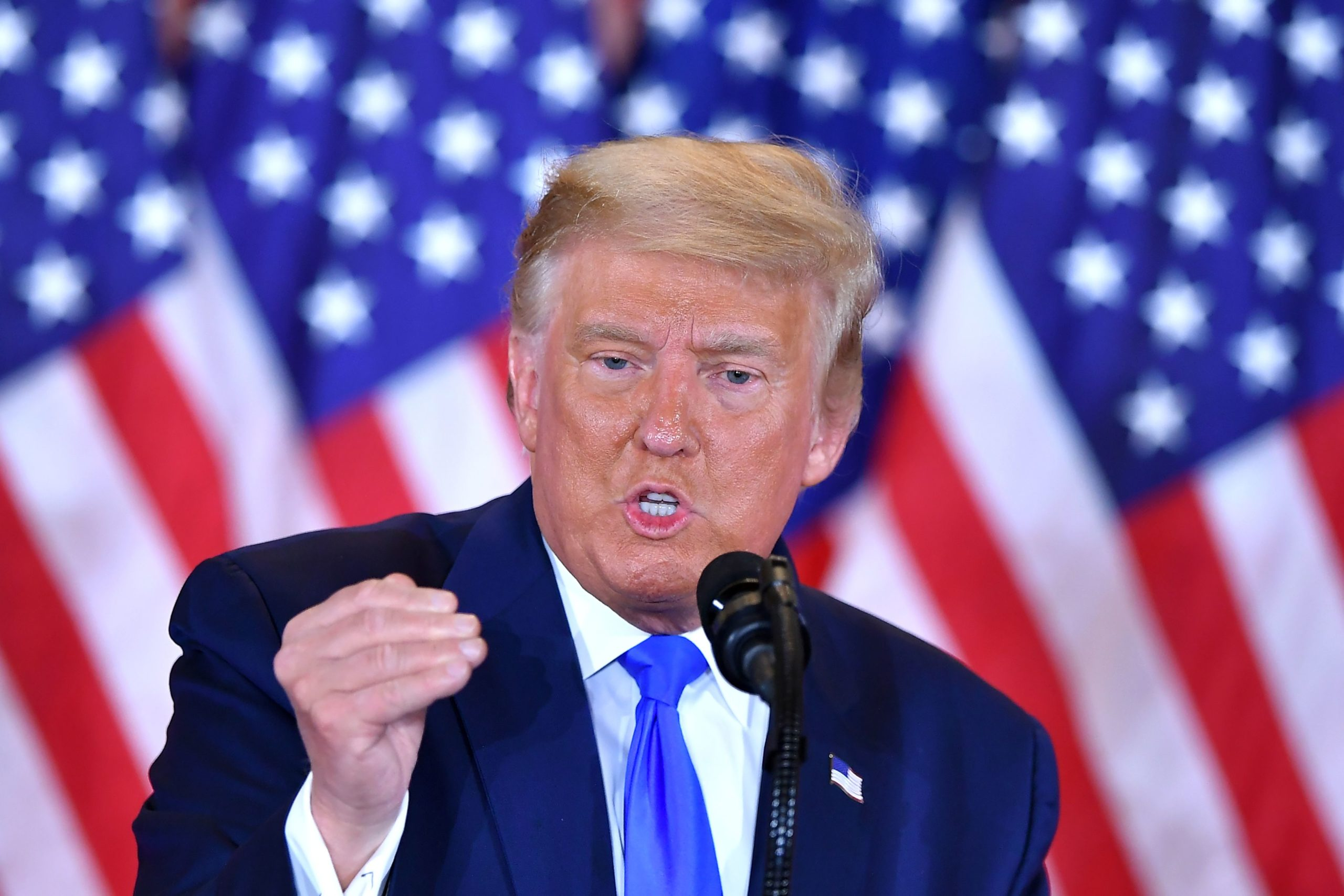 President Donald Trump speaks during election night in the East Room of the White House early Wednesday. (Mandel Ngan/AFP via Getty Images)