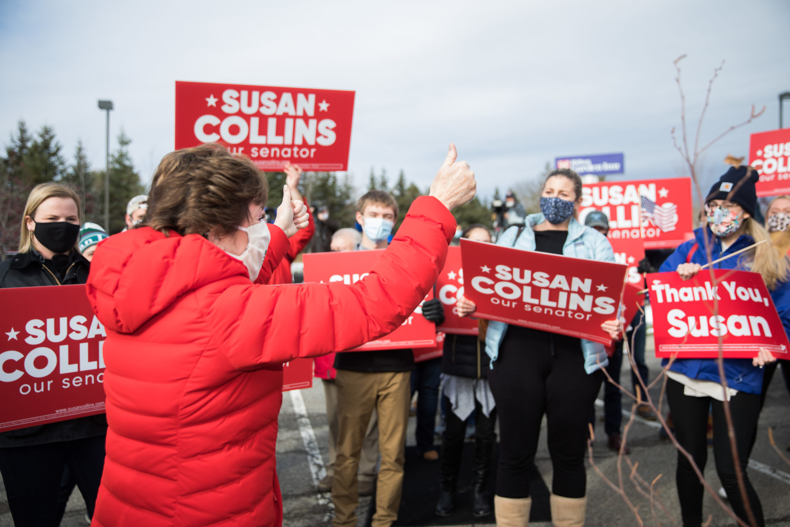 Sen. Susan Collins gives a thumbs up to supporters after announcing her competitor Sara Gideon called to concede on Nov. 4 in Bangor, Maine. (Scott Eisen/Getty Images)