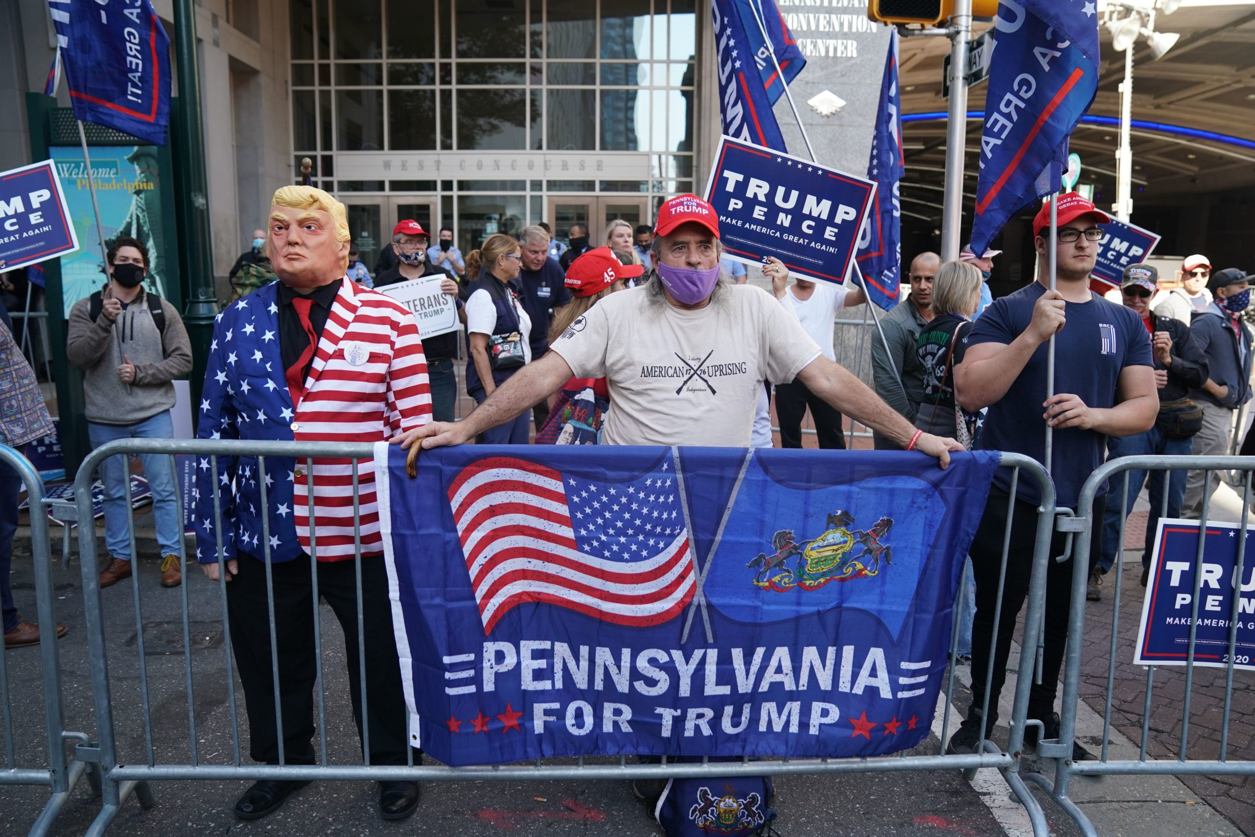 Supporters of President Donald Trump protest on Nov. 6 in Philadelphia, Pennsylvania. (Bryan R. Smith/AFP via Getty Images)