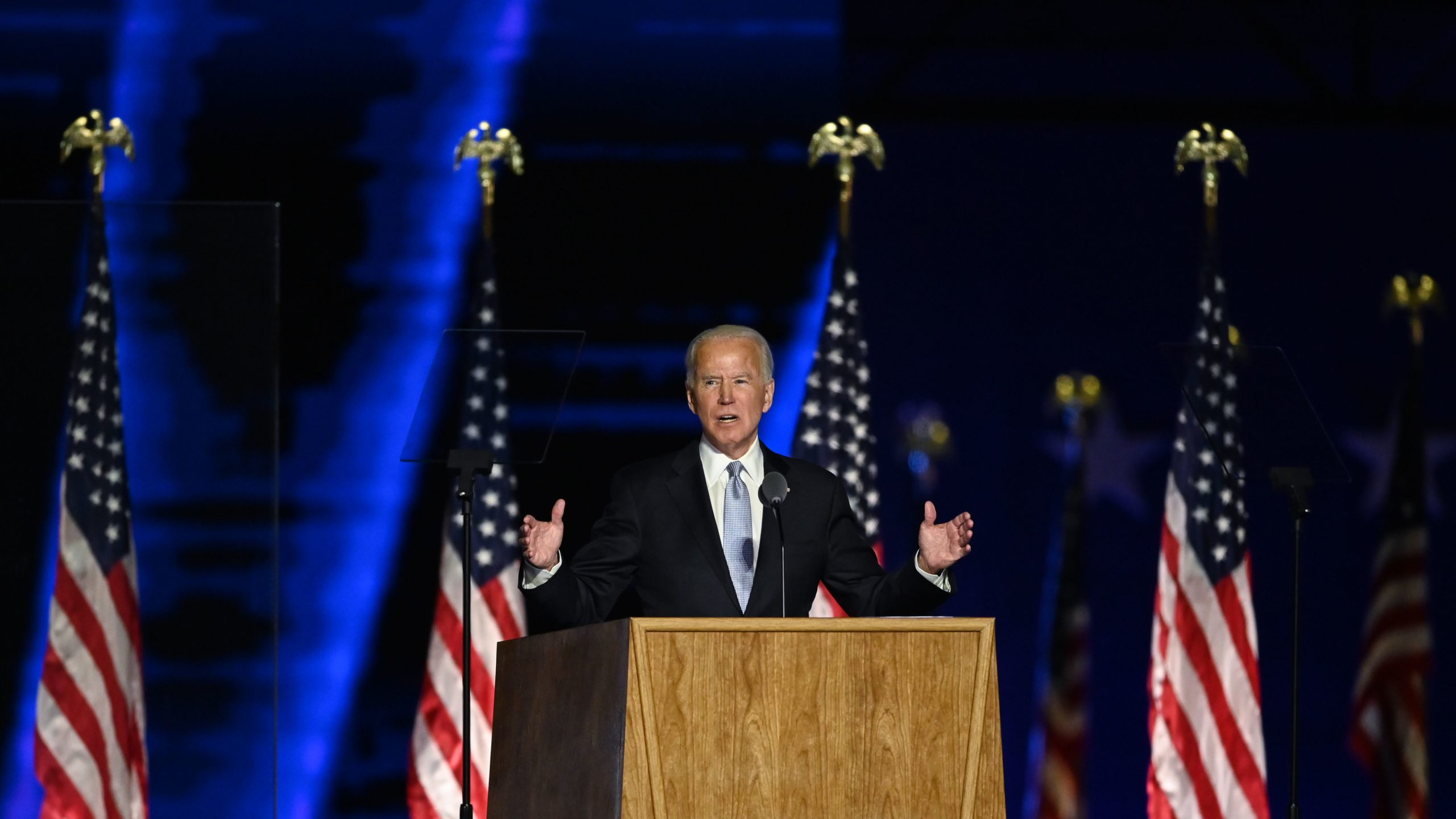 TOPSHOT - US President-elect Joe Biden delivers remarks in Wilmington, Delaware, on November 7, 2020, after being declared the winner of the presidential election. (Photo by Jim WATSON / AFP) (Photo by JIM WATSON/AFP via Getty Images)