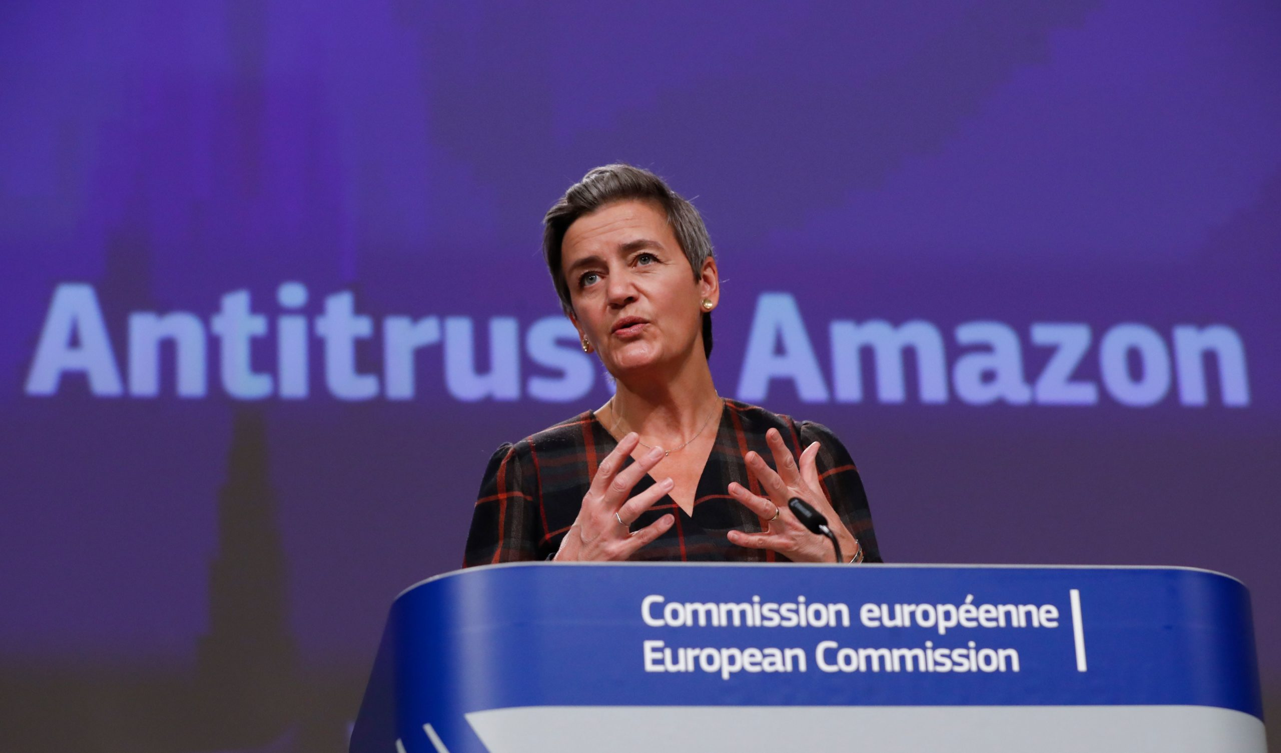 European Executive Vice-President Margrethe Vestager gives a press conference on an anti-trust case concerning Amazon on Tuesday. (Olivier Hoslet/Pool/AFP via Getty Images)