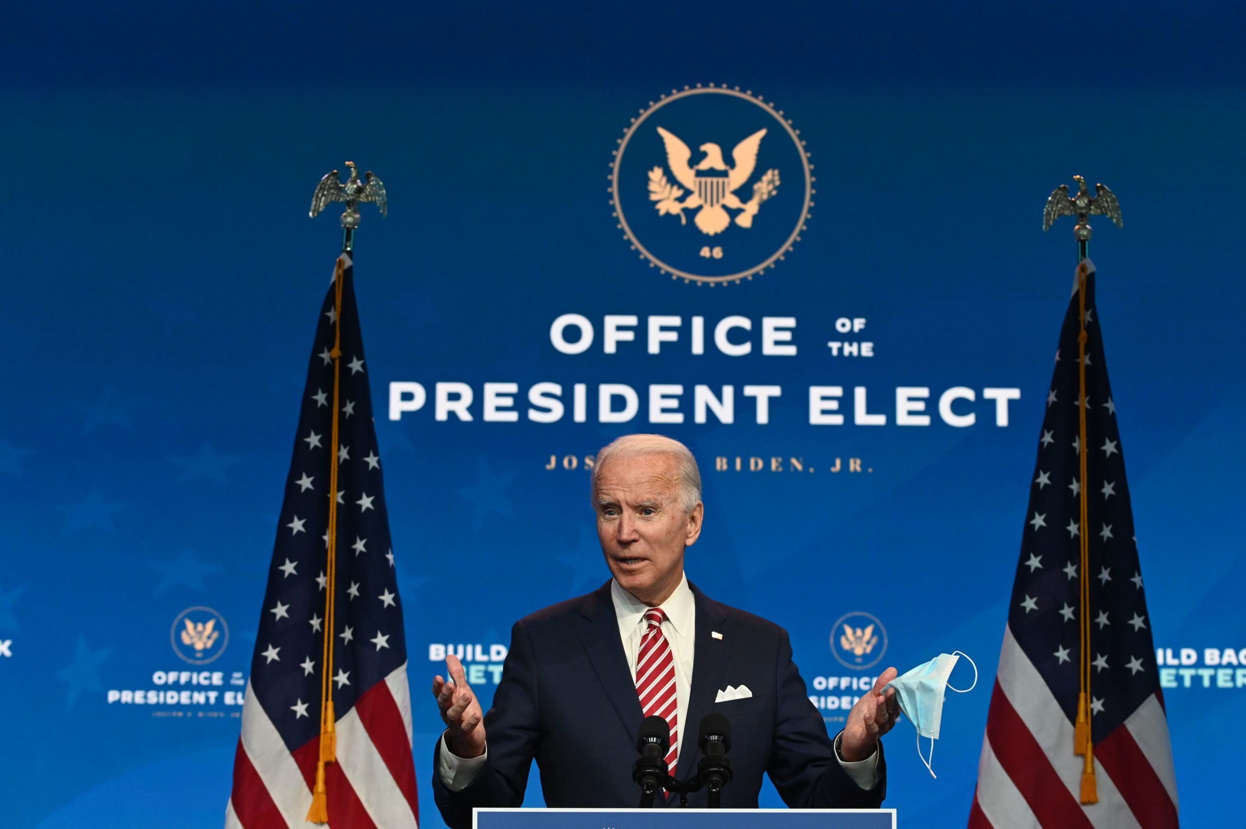 """US President-elect Joe Biden speaks during a press conference at The Queen in Wilmington, Delaware on November 16, 2020. - US President-elect Joe Biden expressed frustration on November 16, 2020 about Donald Trump's refusal so far to cooperate on the White House transition process, saying """"more people may die"""" without immediate coordination on fighting the coronavirus pandemic. (Photo by ROBERTO SCHMIDT/AFP via Getty Images)"""