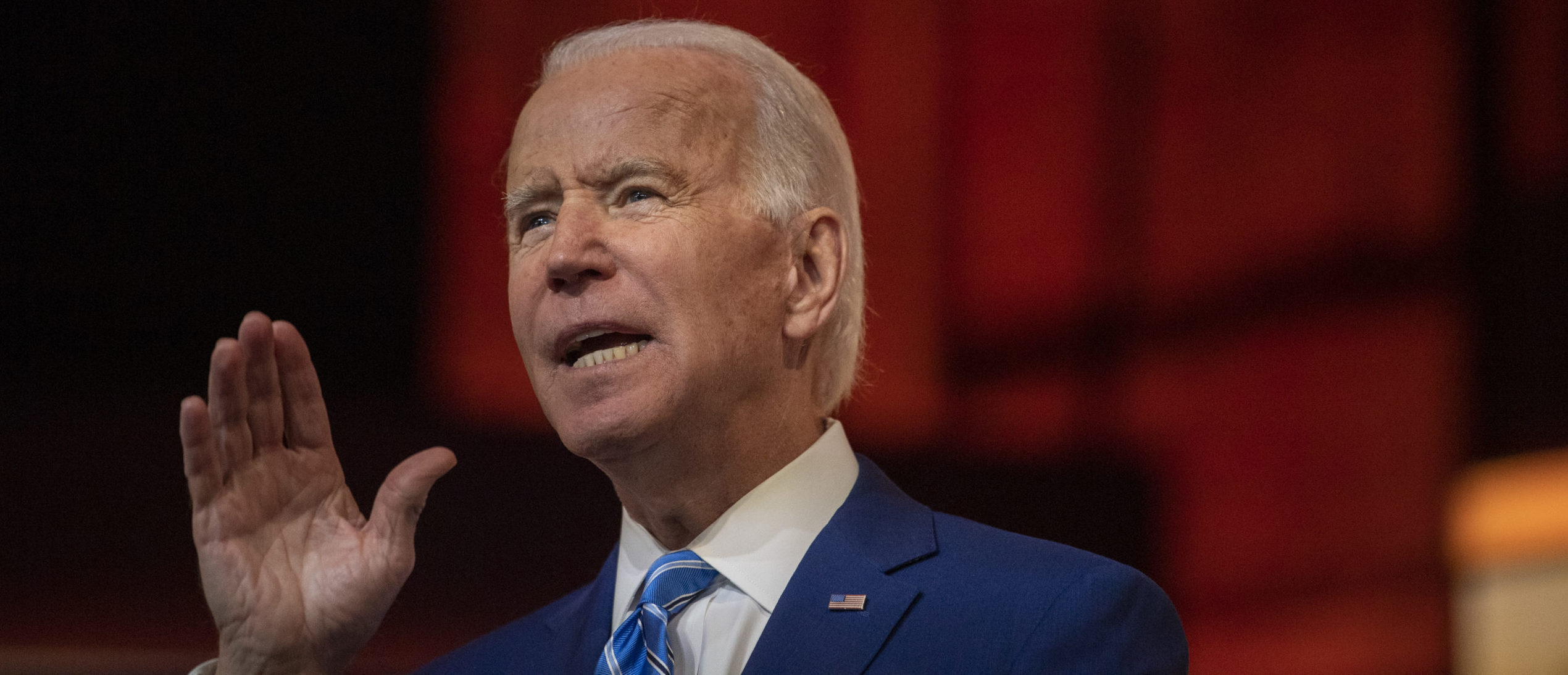 President-elect Joe Biden delivers a Thanksgiving address at the Queen Theatre on November 25, 2020 in Wilmington, Delaware. (Mark Makela/Getty Images)